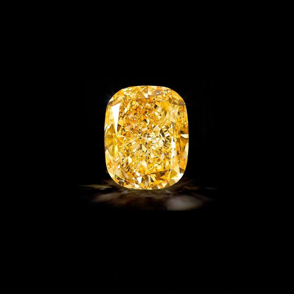 The Graff Golden Empress, a 132.55 carat Fancy Intense Yellow cushion cut diamond