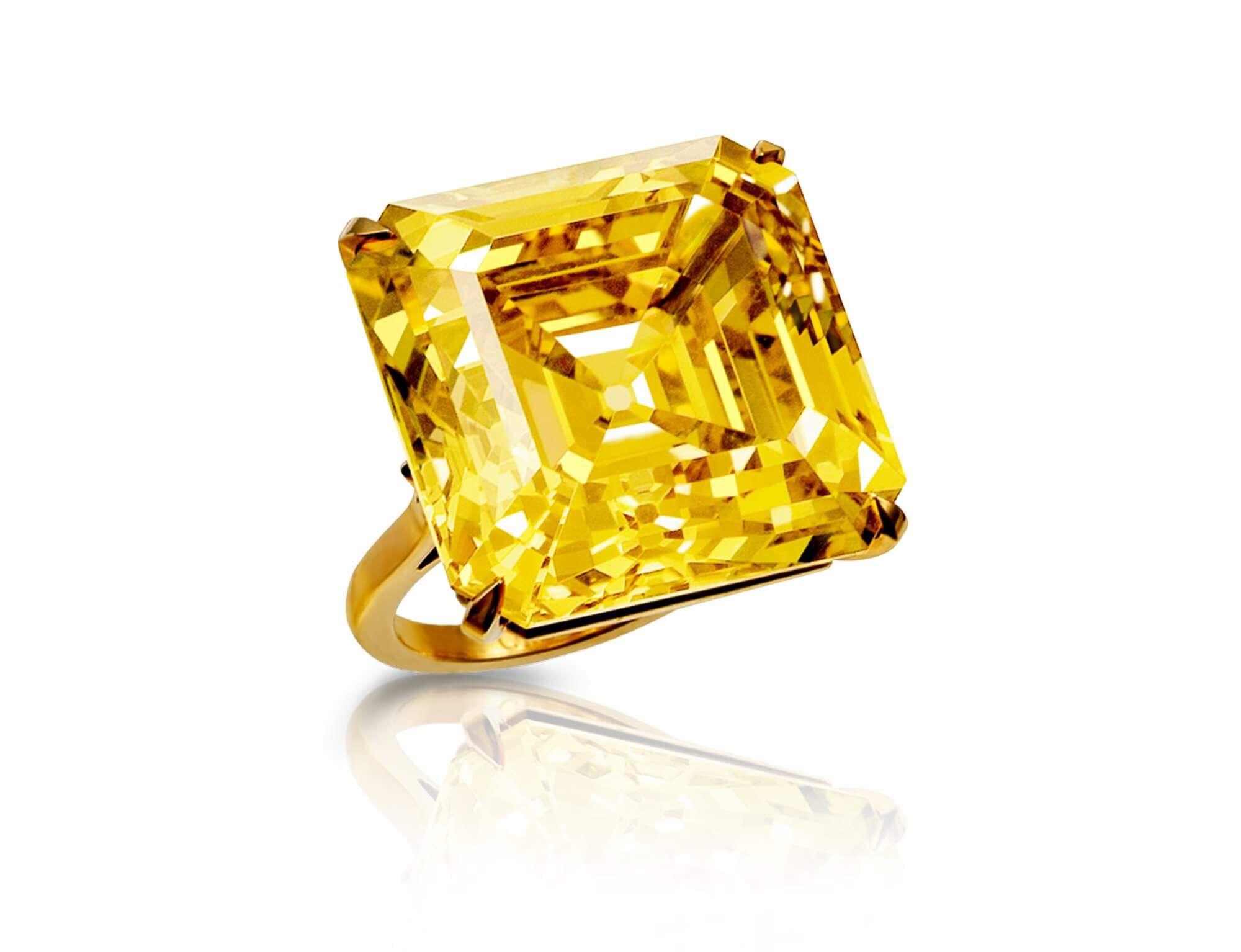 The Graff Star of Bombay- a emerald cut yellow diamond ring