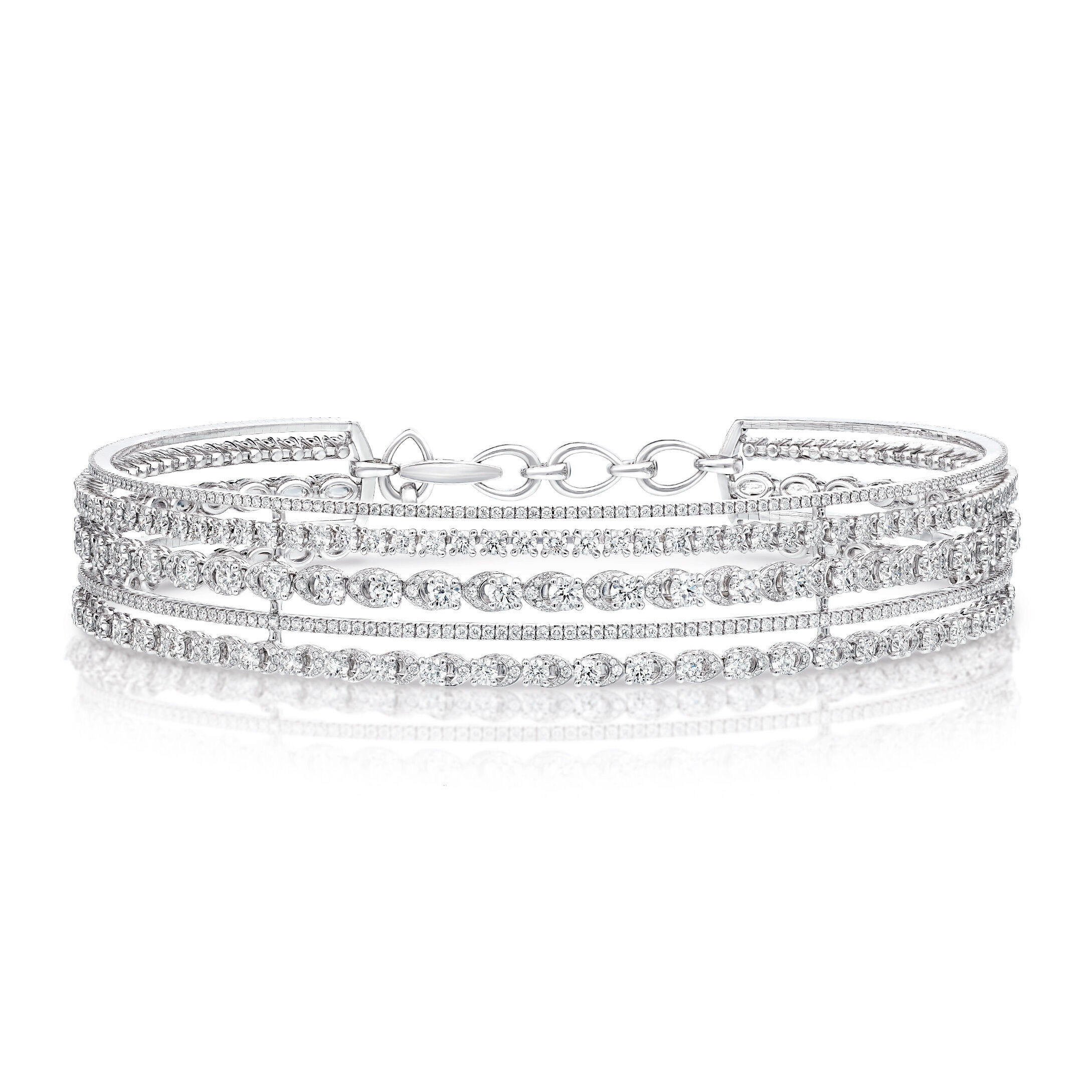 A Graff Gateway Five Row Diamond Necklace from the Tribal collection