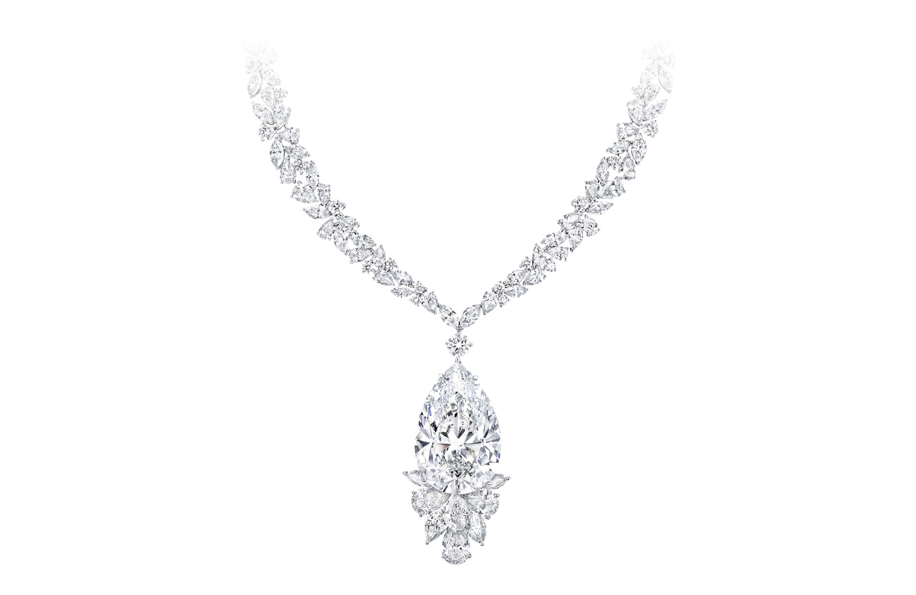A Graff white diamond high jewellery necklace featuring a pear shape diamond from the famous Meya Prosperity diamond