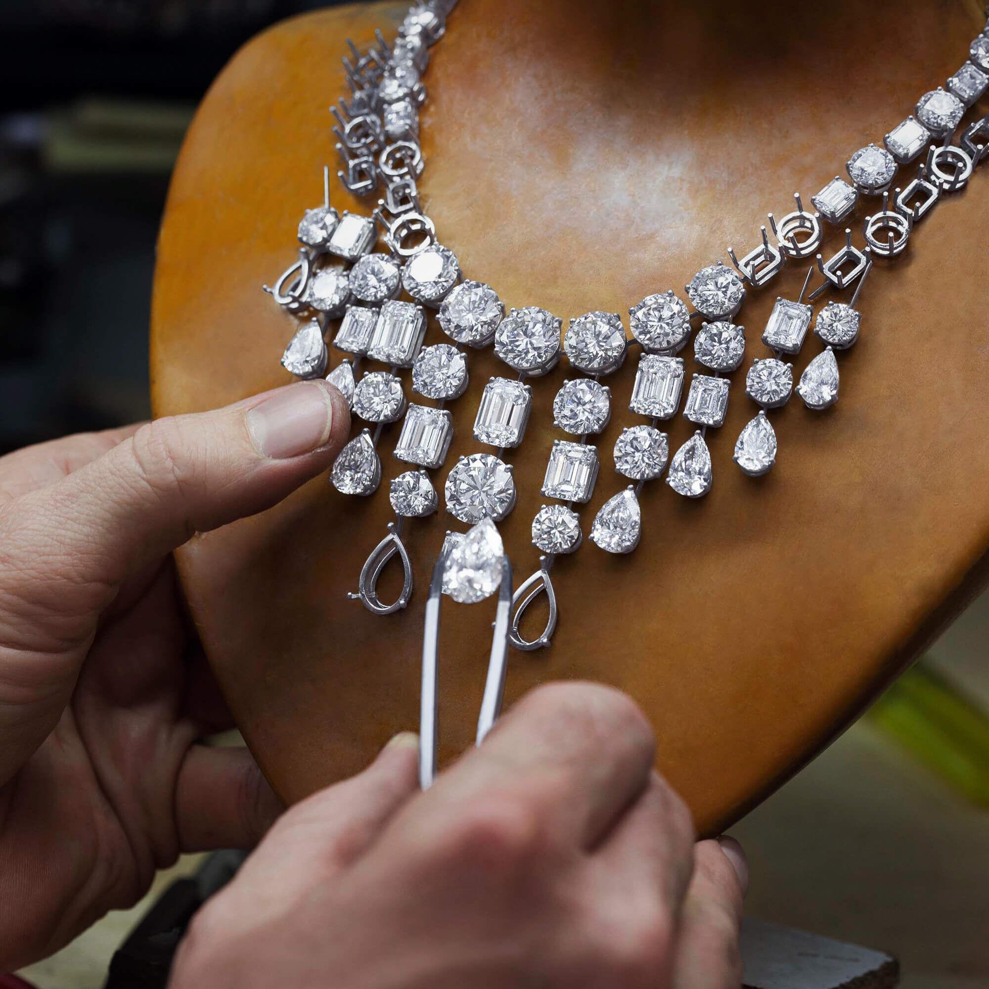Graff Diamond setter crafting a high jewellery necklace.