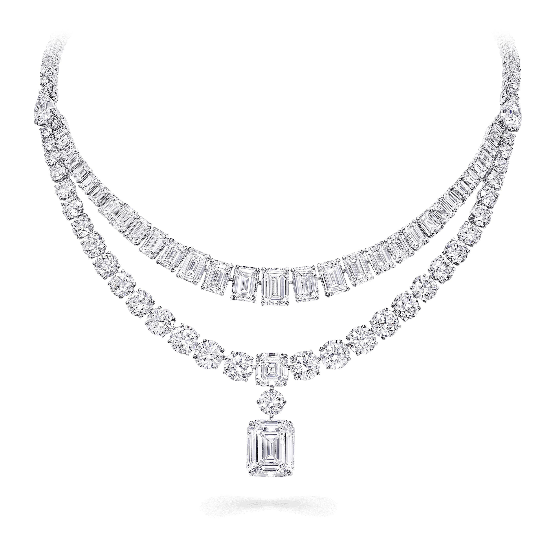 A pair of Graff white diamond high jewellery earrings