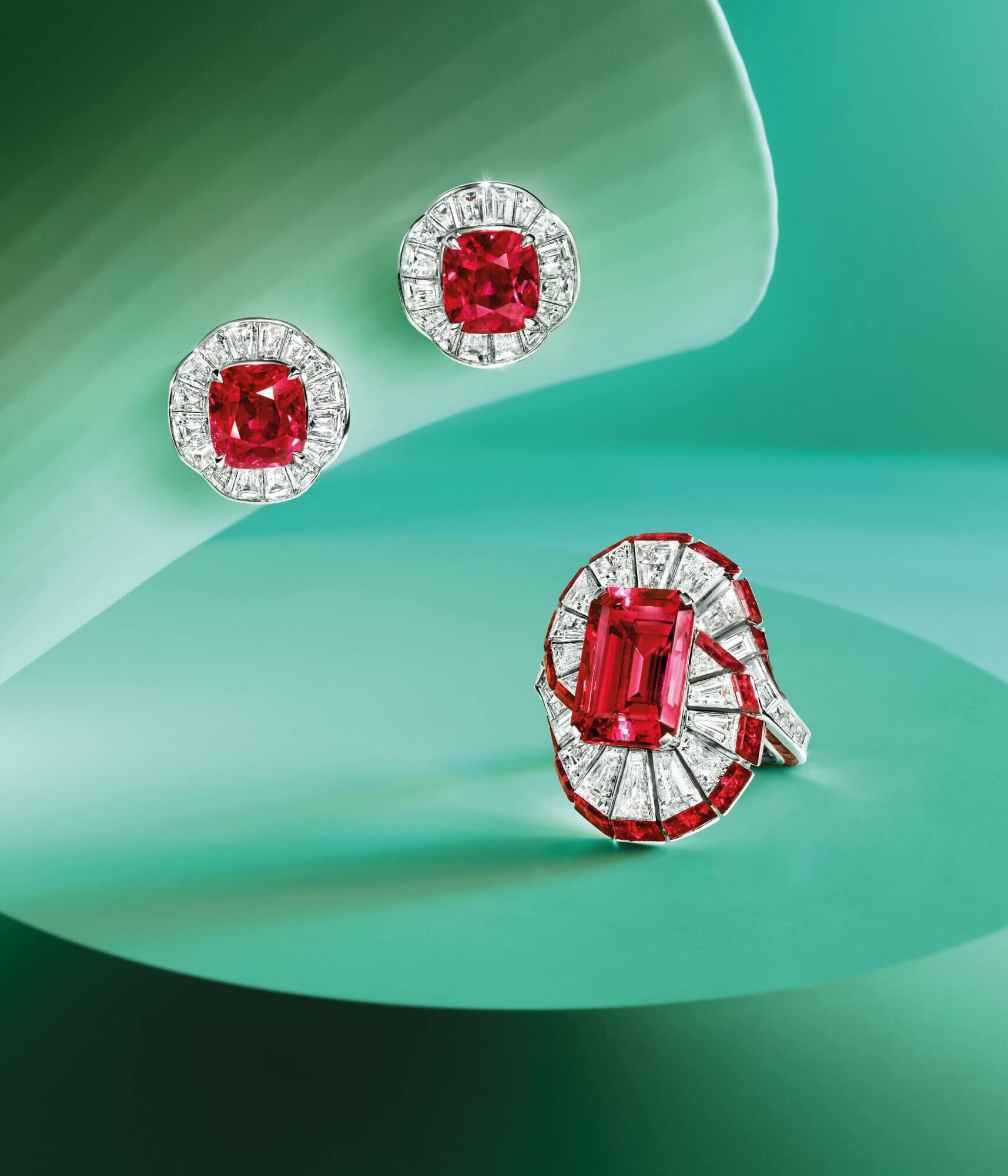 Graff Ruby and Diamond Ring and Earrings