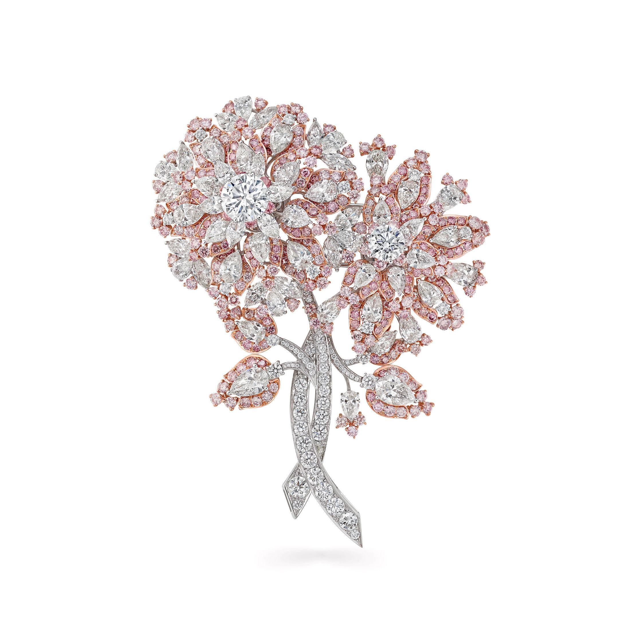 a Graff pink and white diamond high jewellery brooch