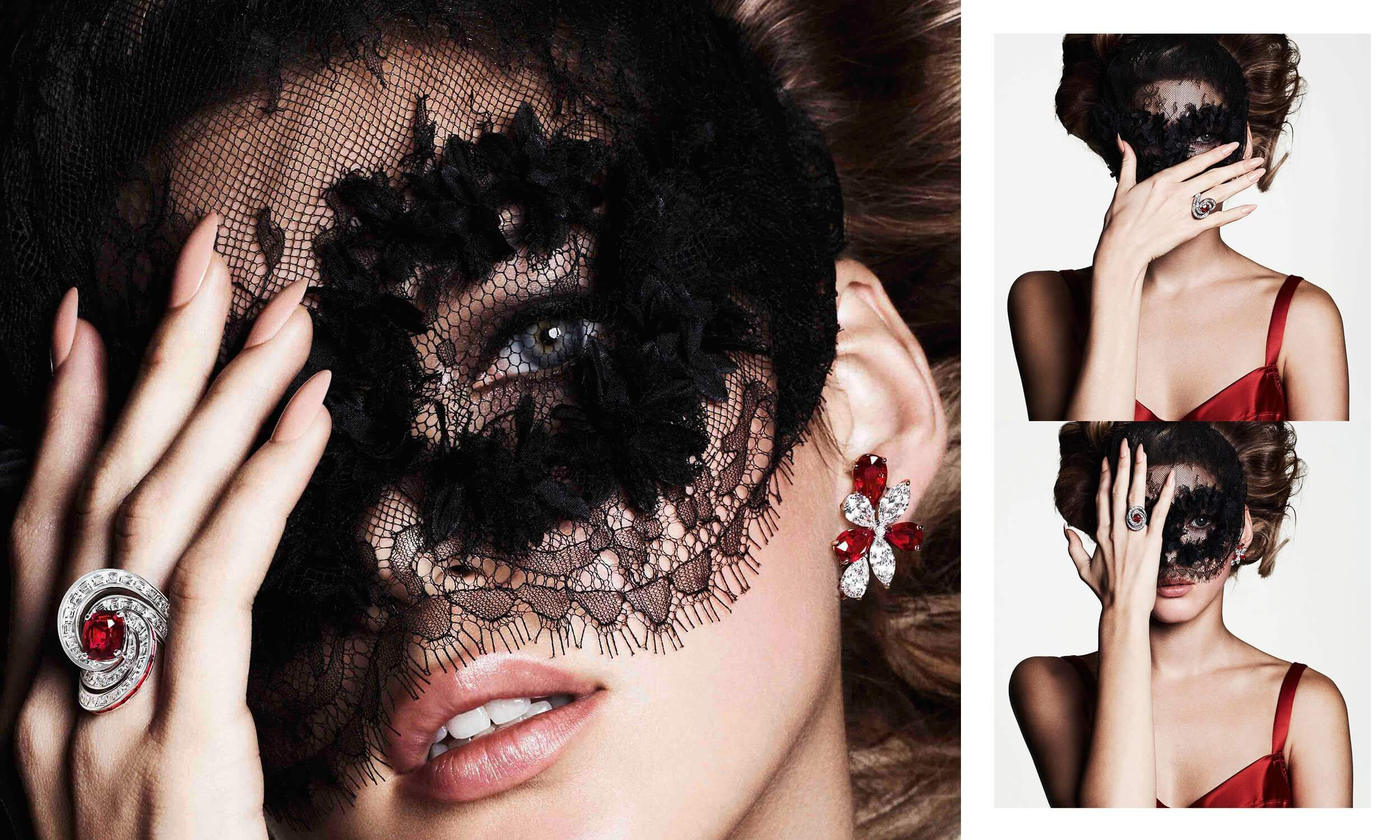 A model wearing Graff ruby and white diamond high jewellery earrings and ring
