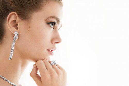 Close up of a model wearing Graff diamond jewellery