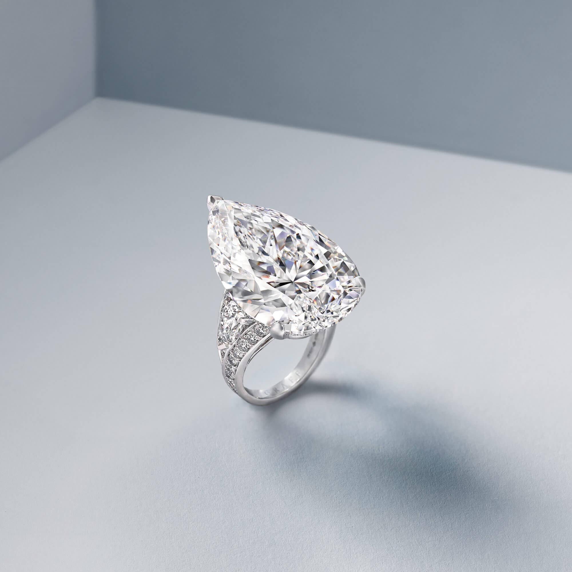 Graff Diamond Majesty a 38.13 carat D Flawless pear shape diamond ring