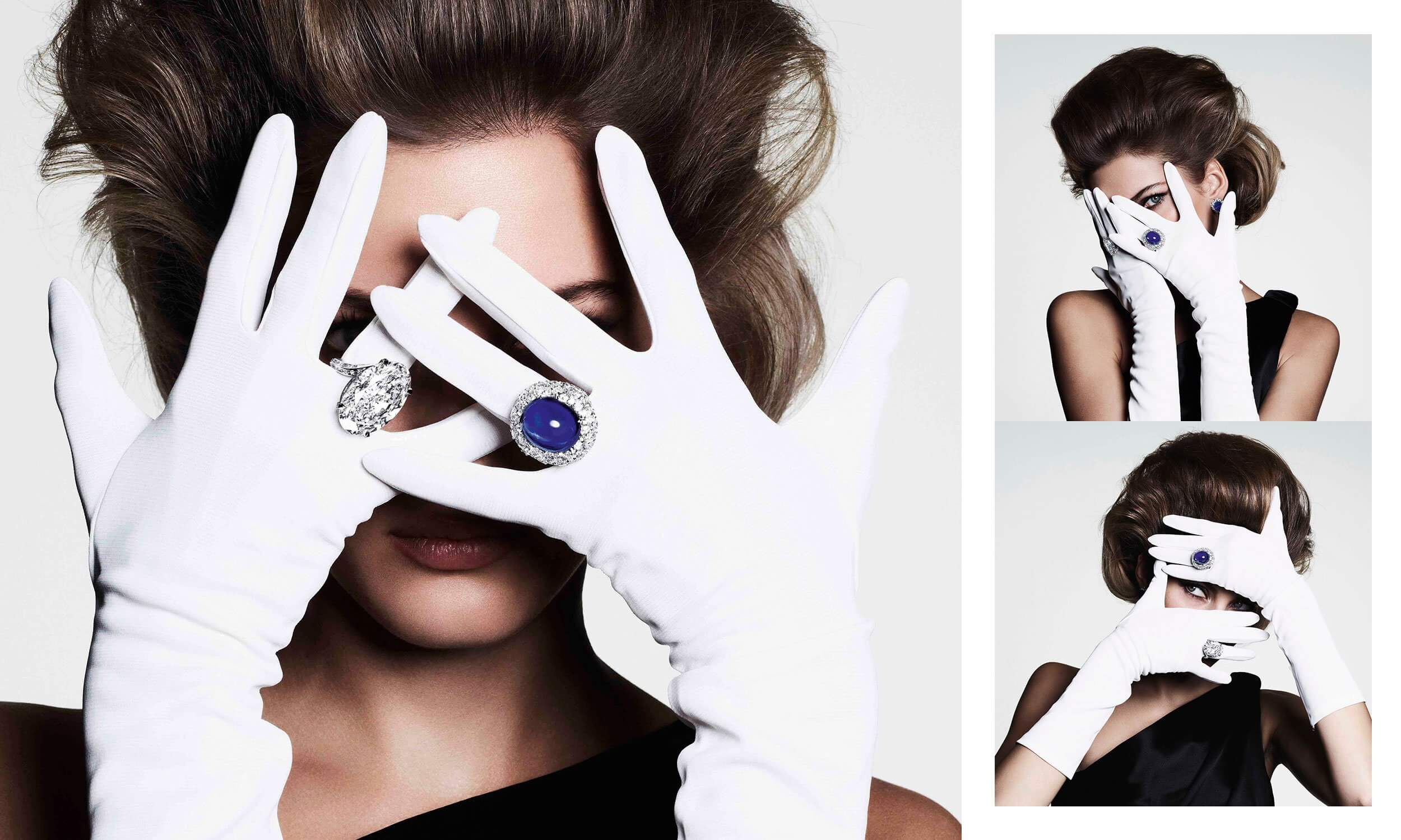 A model wearing Graff high jewellery sapphire ring and diamond ring