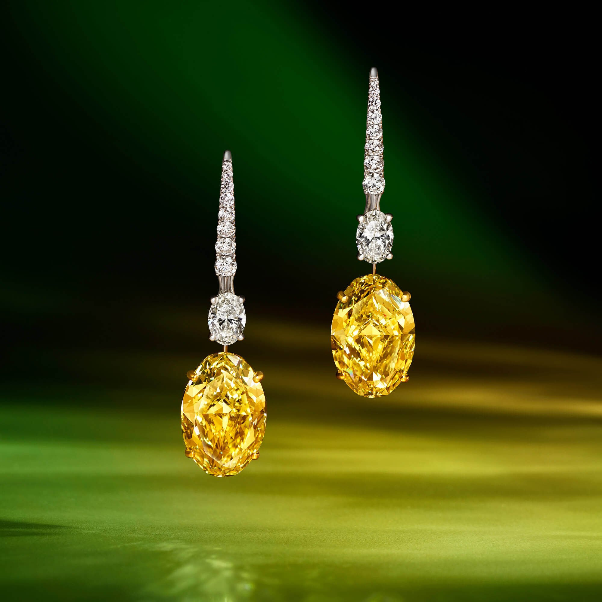 Yellow and White Diamond Earrings by Graff
