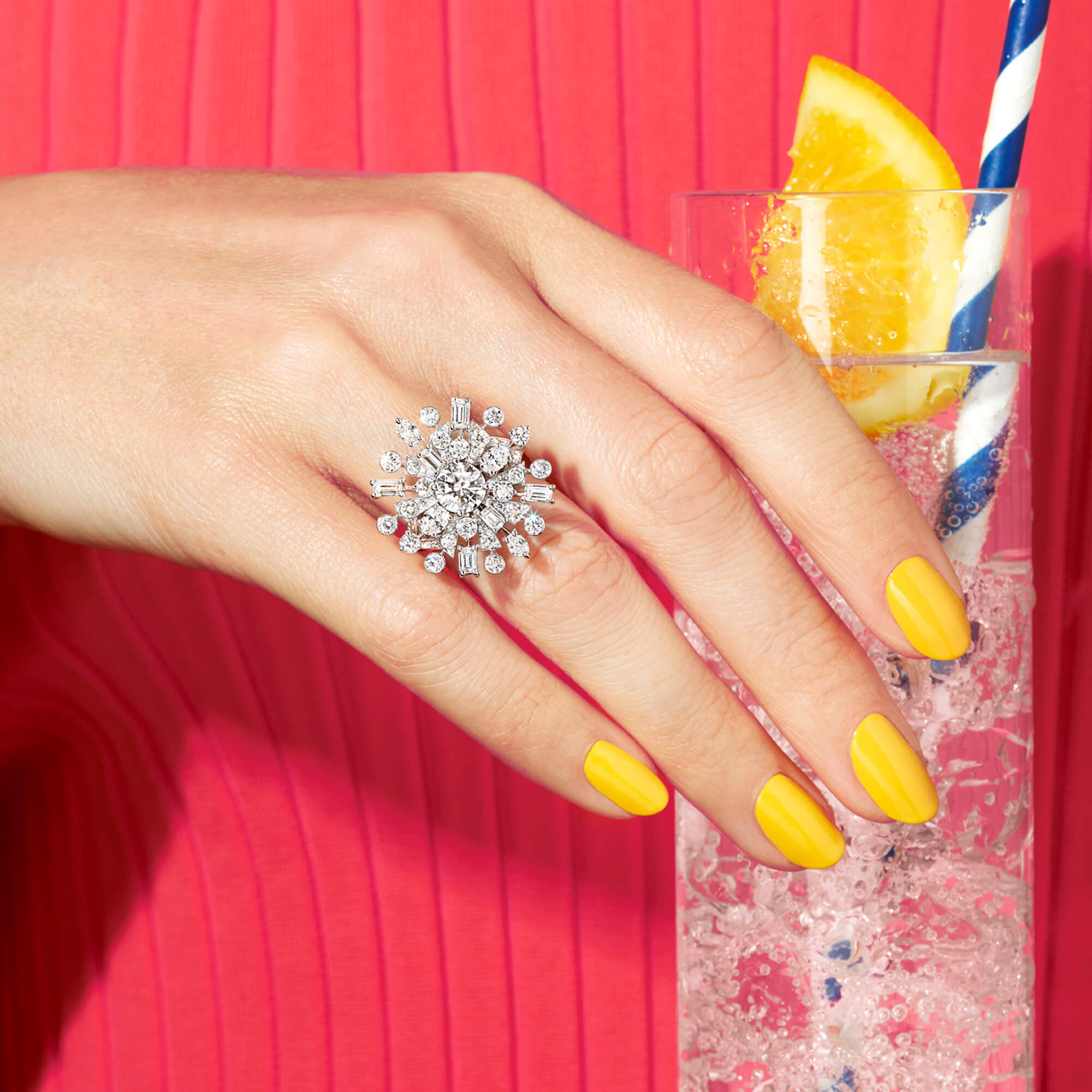 Close up of a model wearing a Graff Solar Collection Diamond Ring
