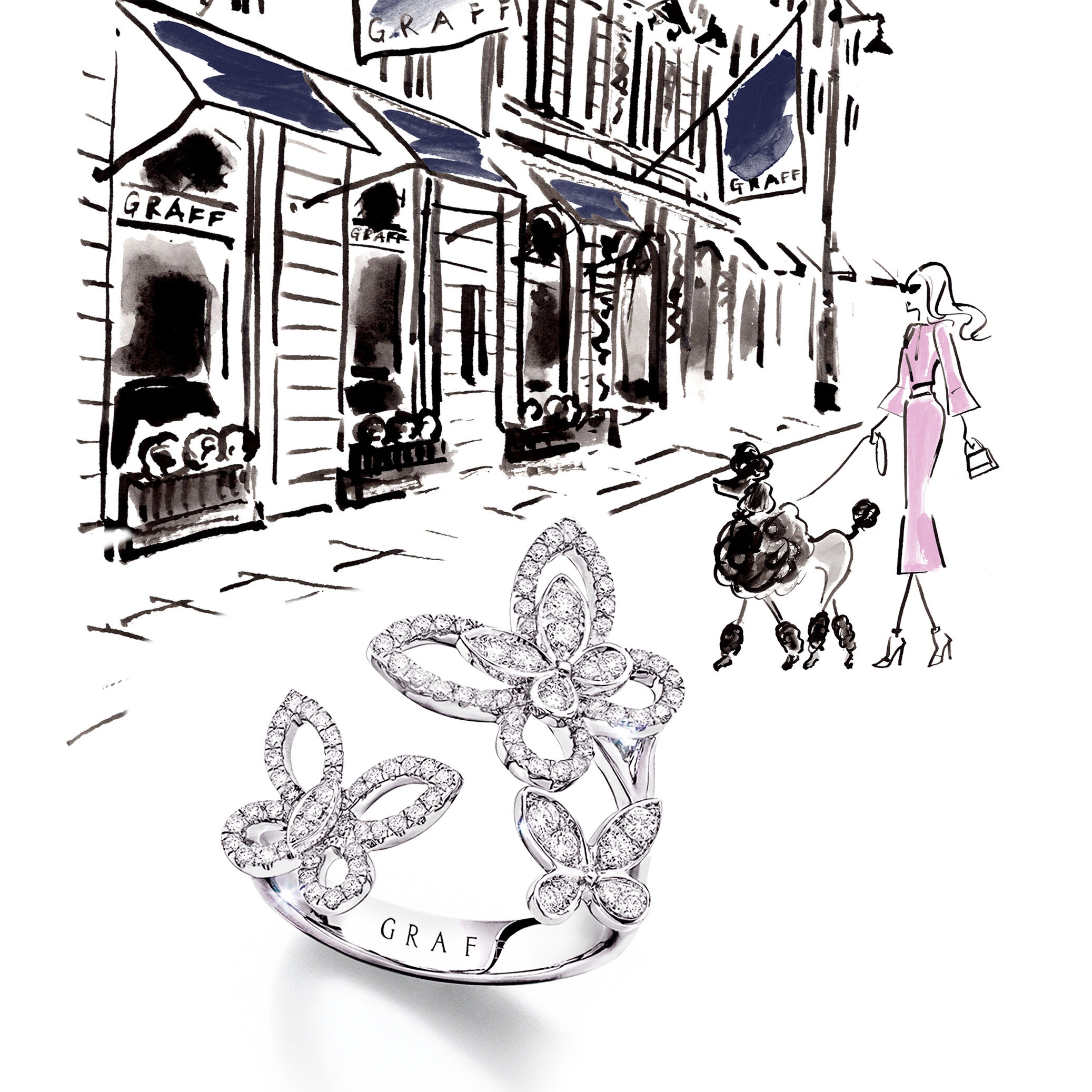 Graff Triple Butterfly Silhouette ring on an illustrated background