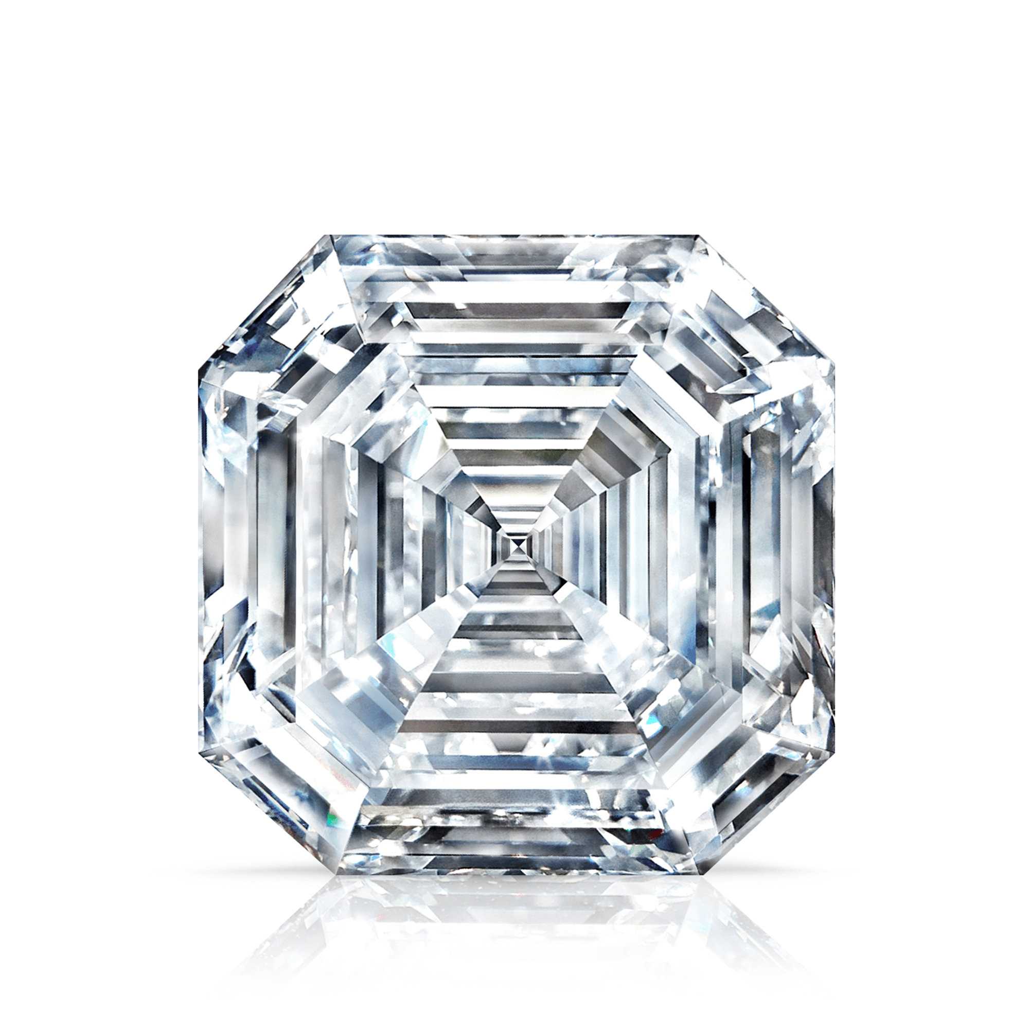 Front view of the 302 37ct Graff Lesedi La Rona Square Emerald Cut Diamond
