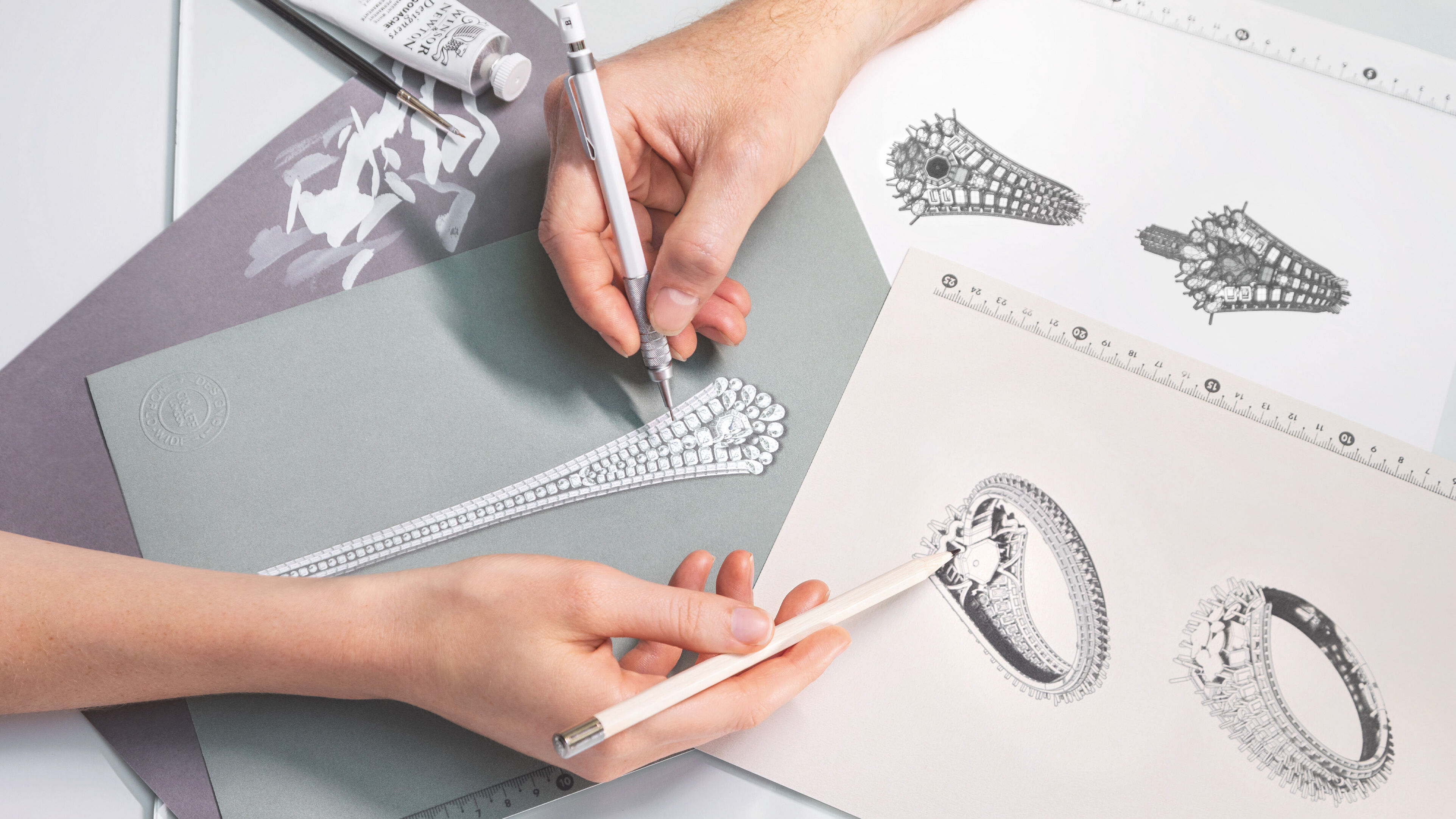sketching of the Graff Oval Diamond Secret Watch  from different angles, the Graff unique timepieces collection