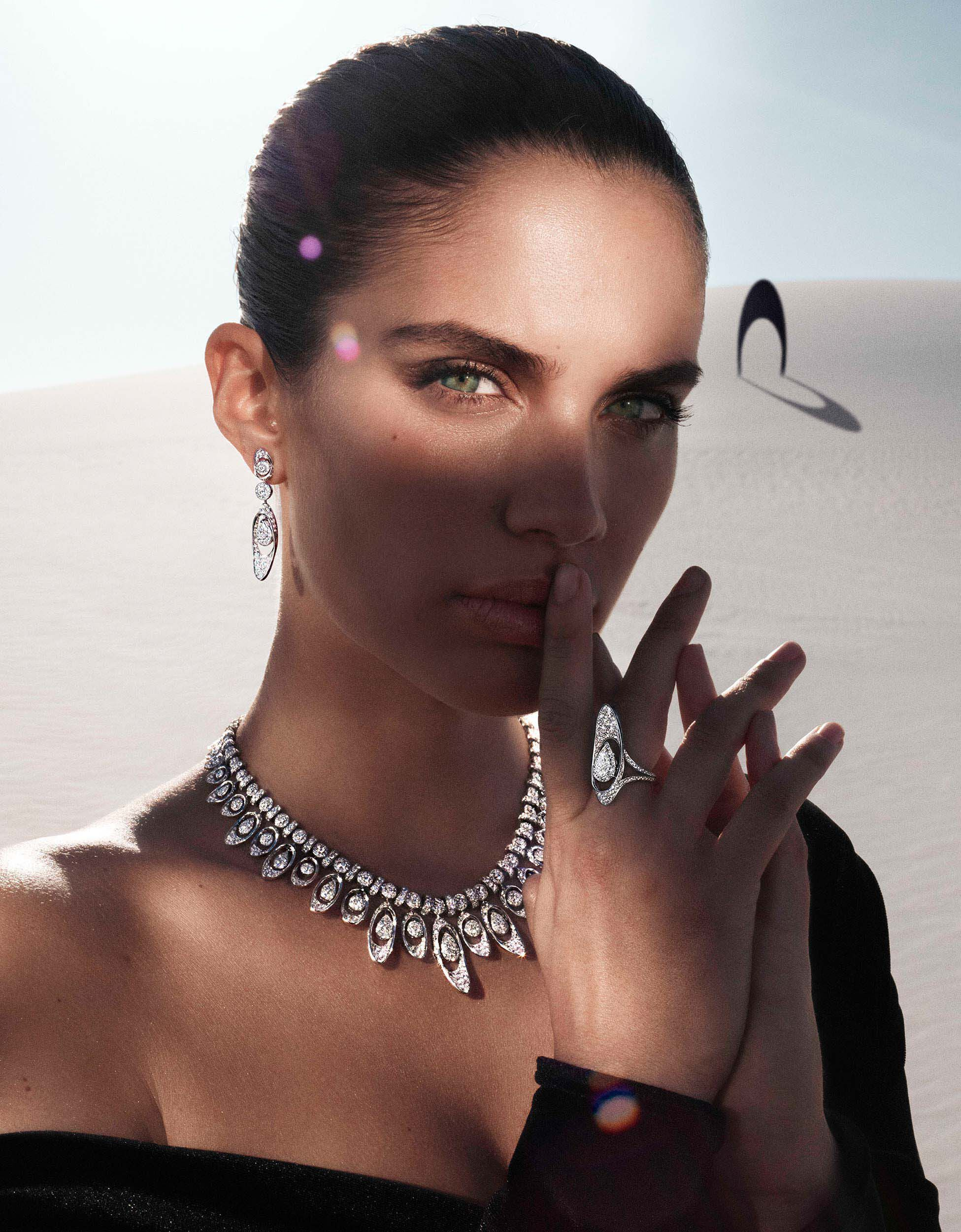 Model wears Graff Gateway diamond jewels from the Tribal collection in  a dessert