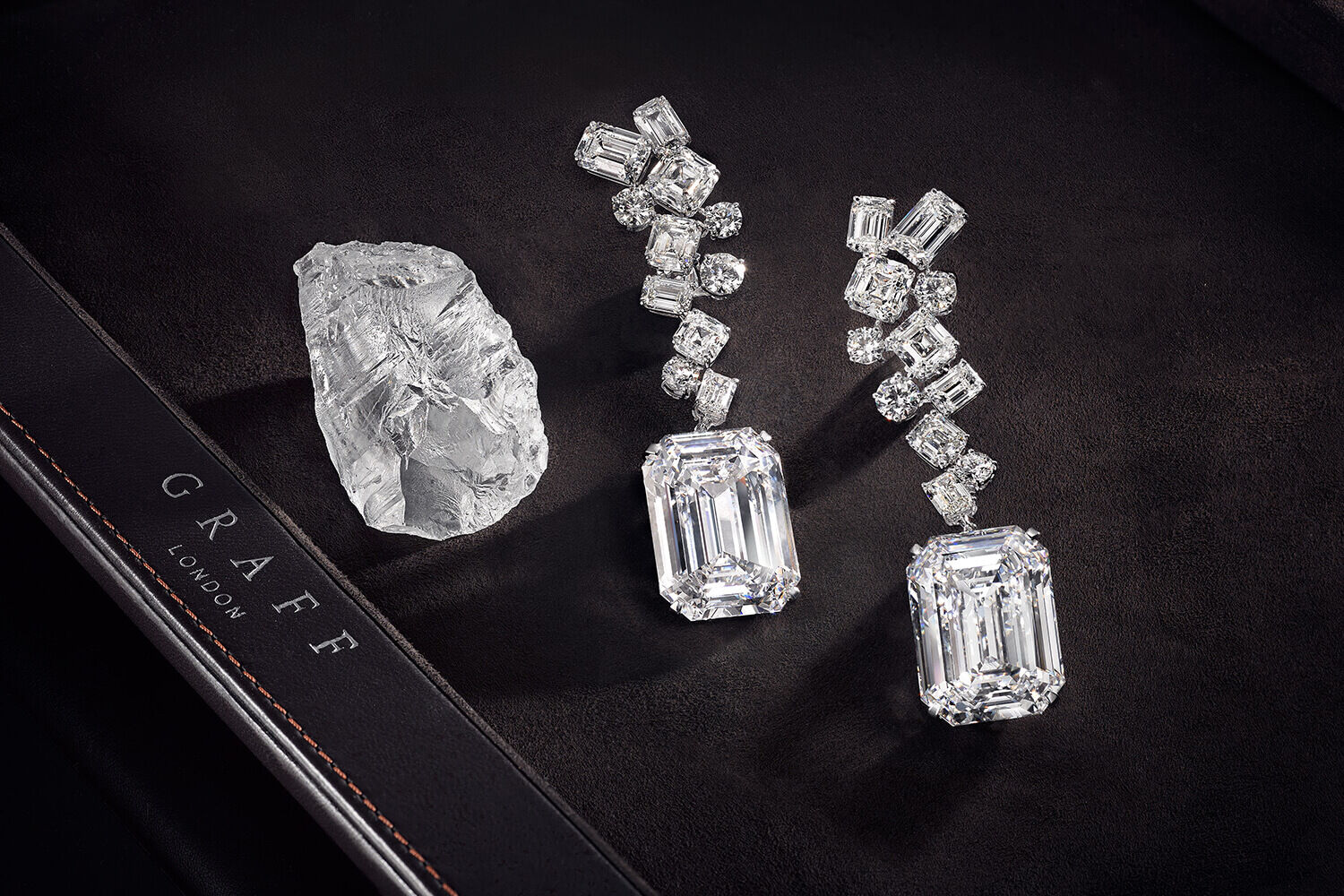 The Graff Eternal Twins - two identical D Flawless emerald cut diamonds weighing 50.23 carats each
