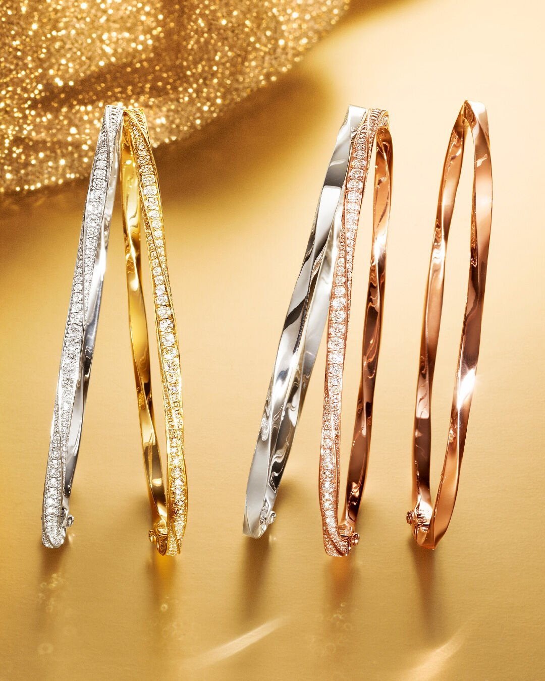 Five pave bangles from Graff' Spiral Collection