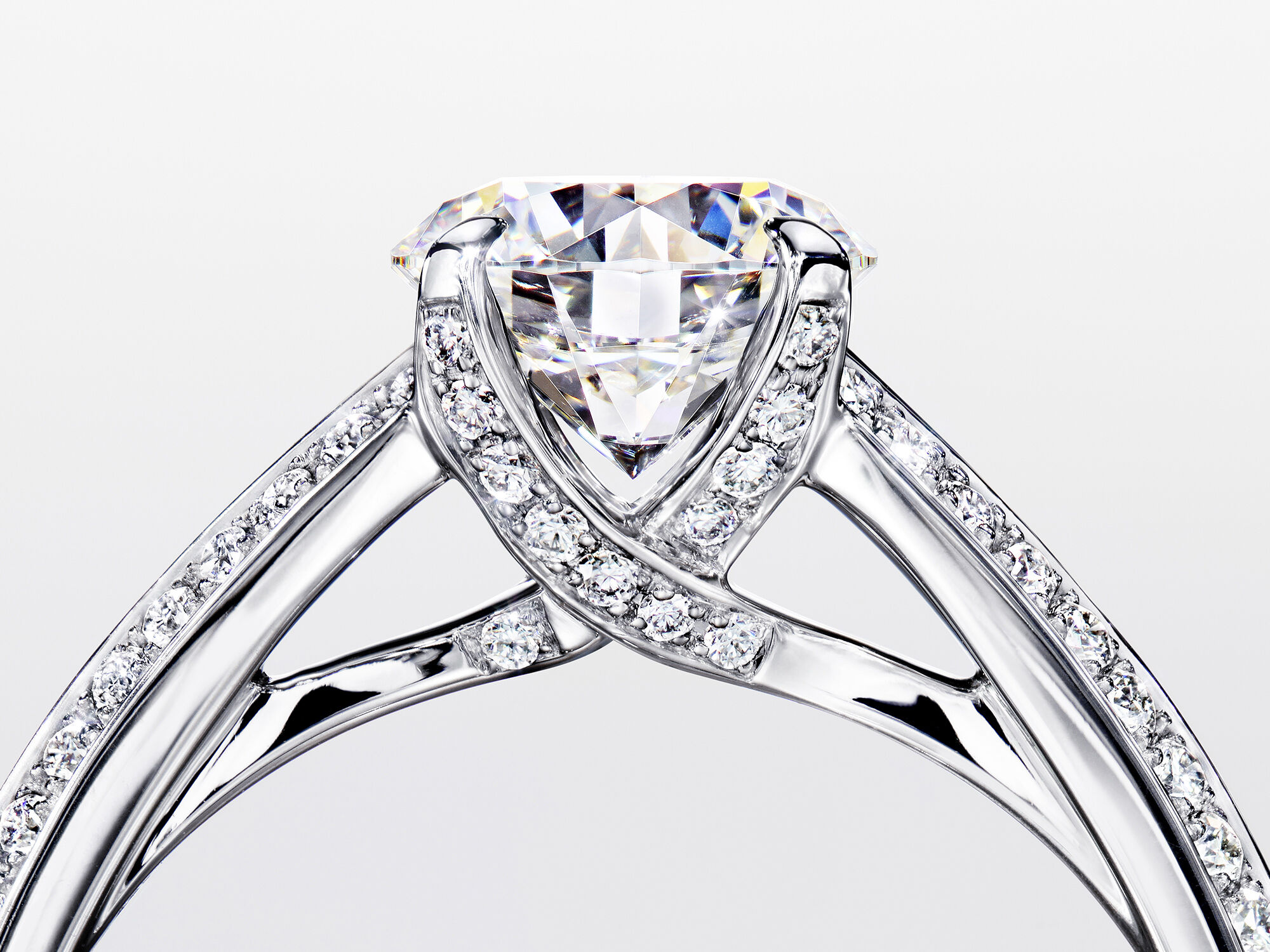 A side view of a Graff Legacy setting diamond bridal engagement ring