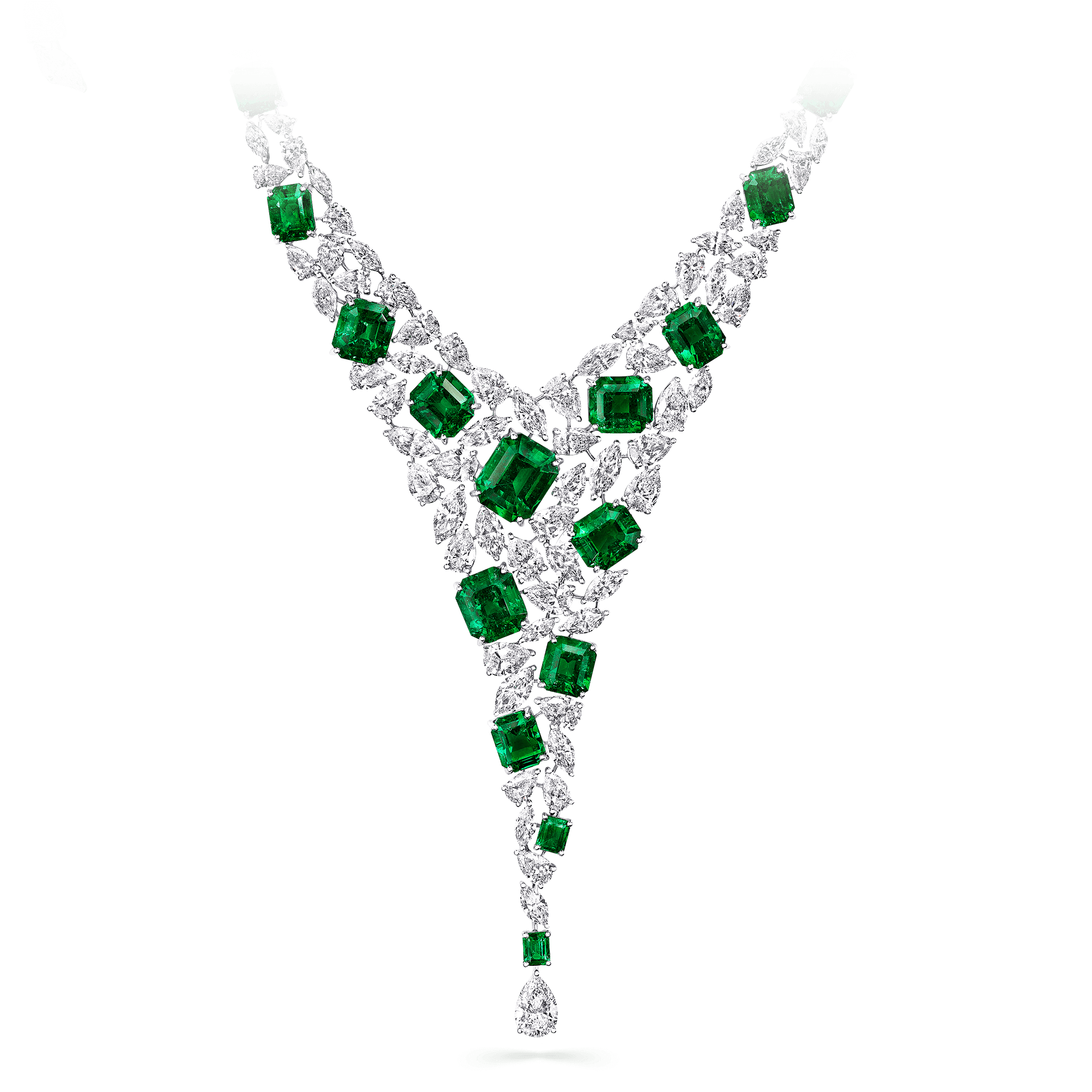 Graff High Jewellery Emerald and Diamond Foliage Necklace