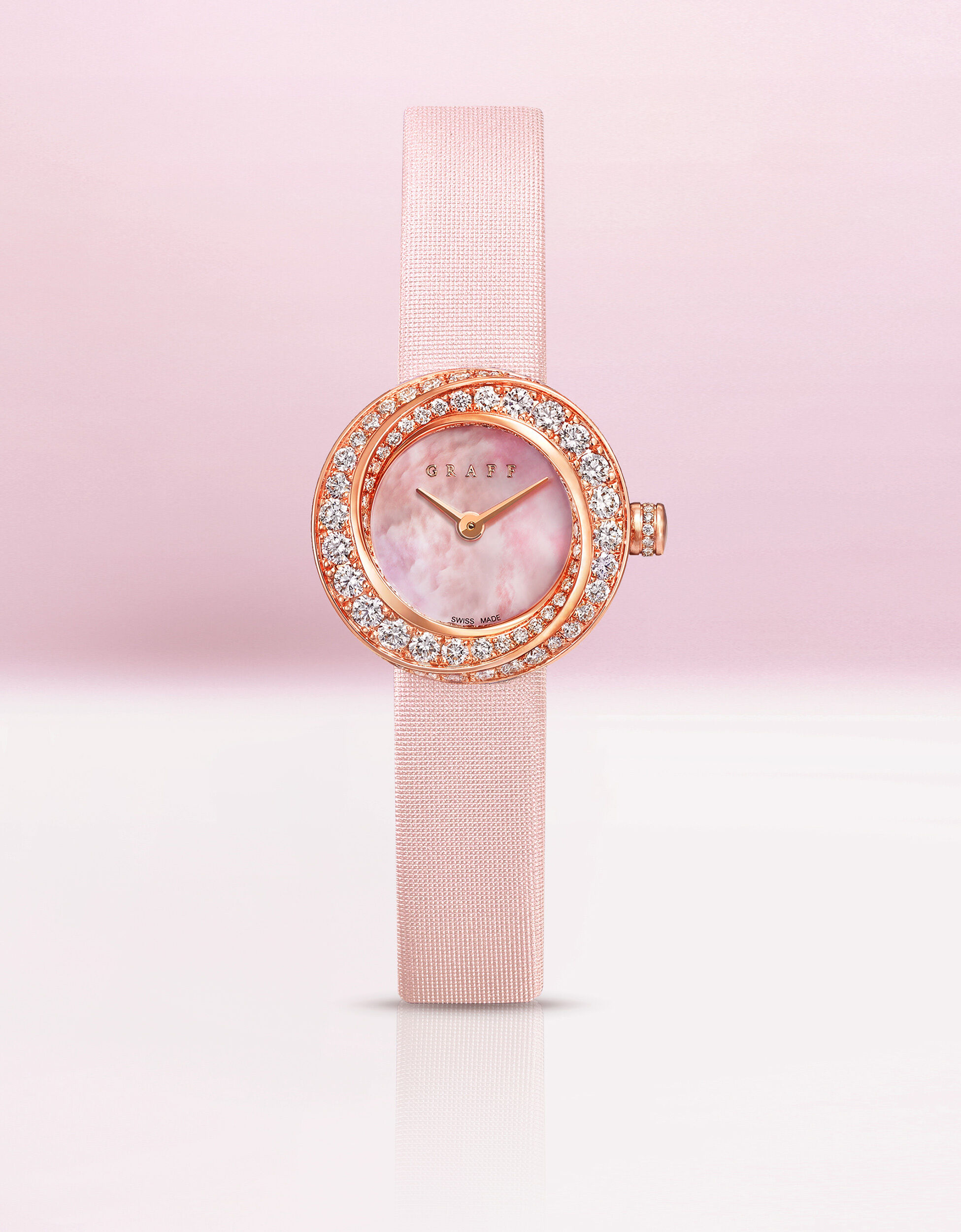 Image of Graff Spiral watch with pink satin strap, pink mother of pearl, rose gold and diamonds