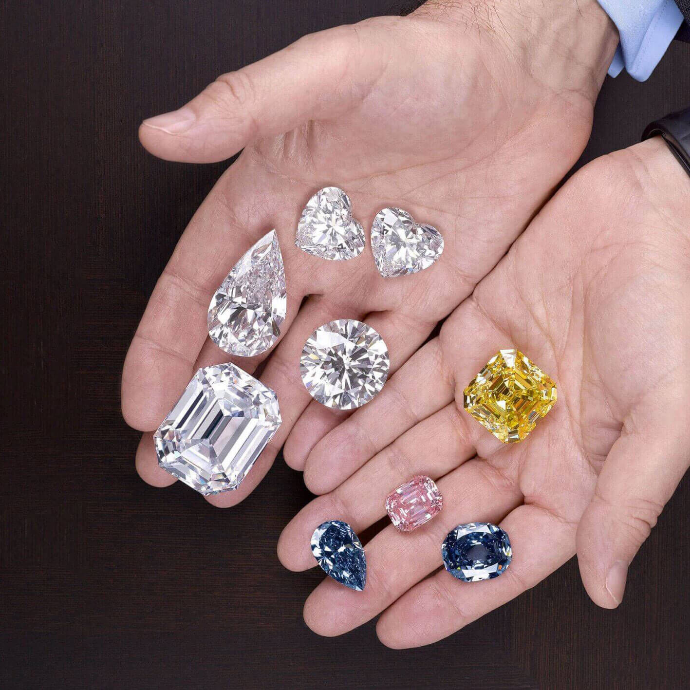 Close up of famous diamonds in the hands of Mr Laurence Graff OBE