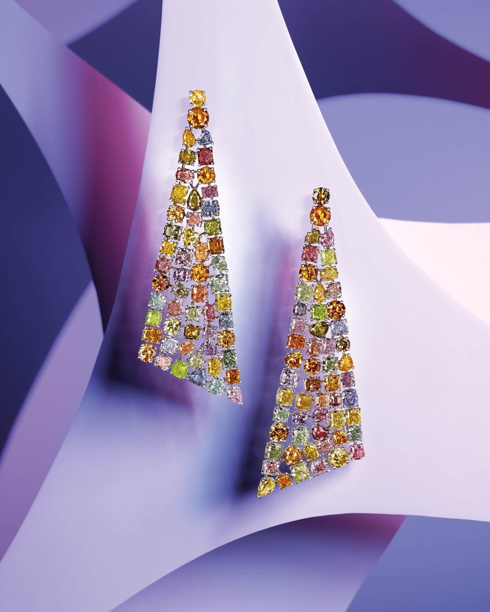 A pair of Graff Multi coloured diamond earrings
