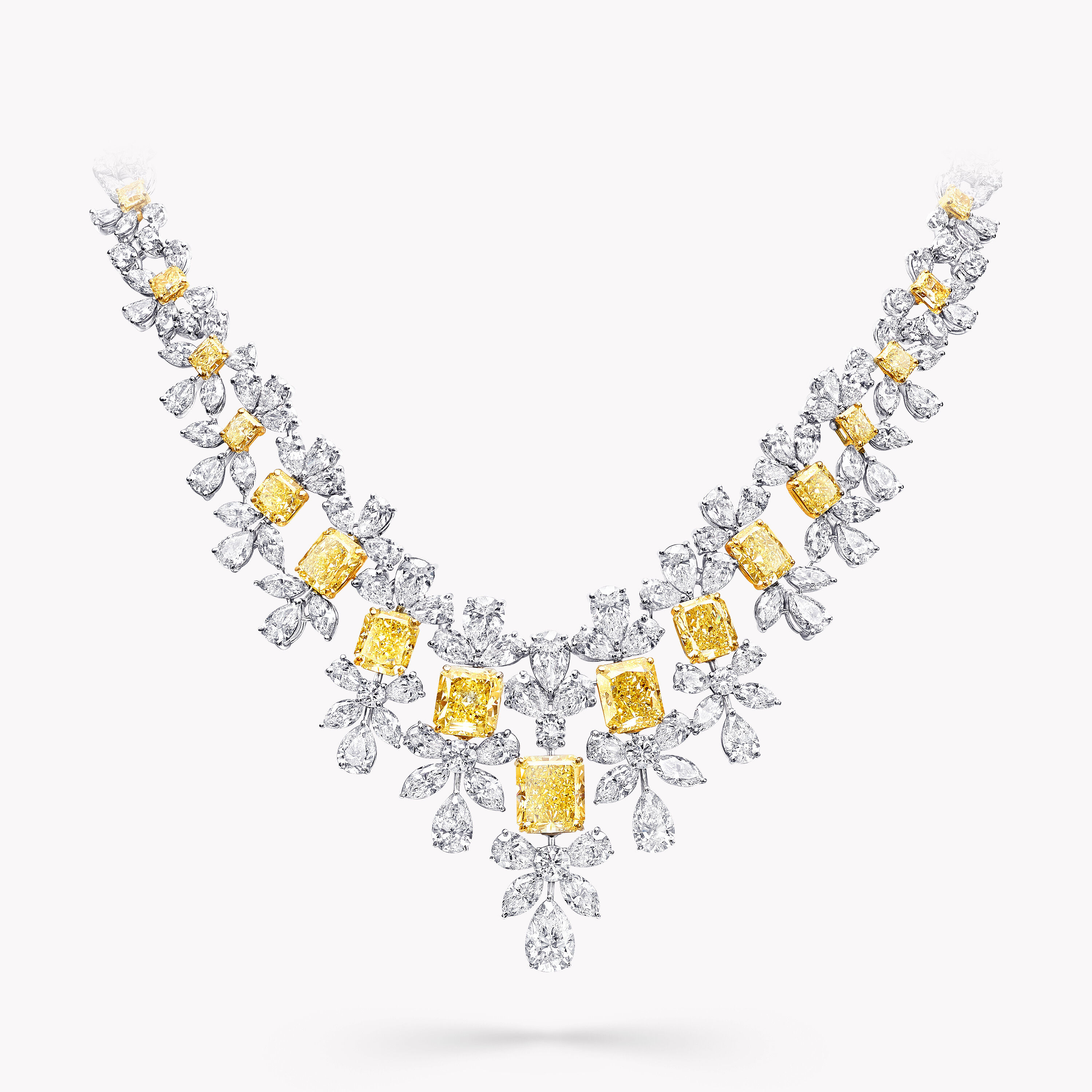 A Graff yellow and white diamond high jewellery necklace