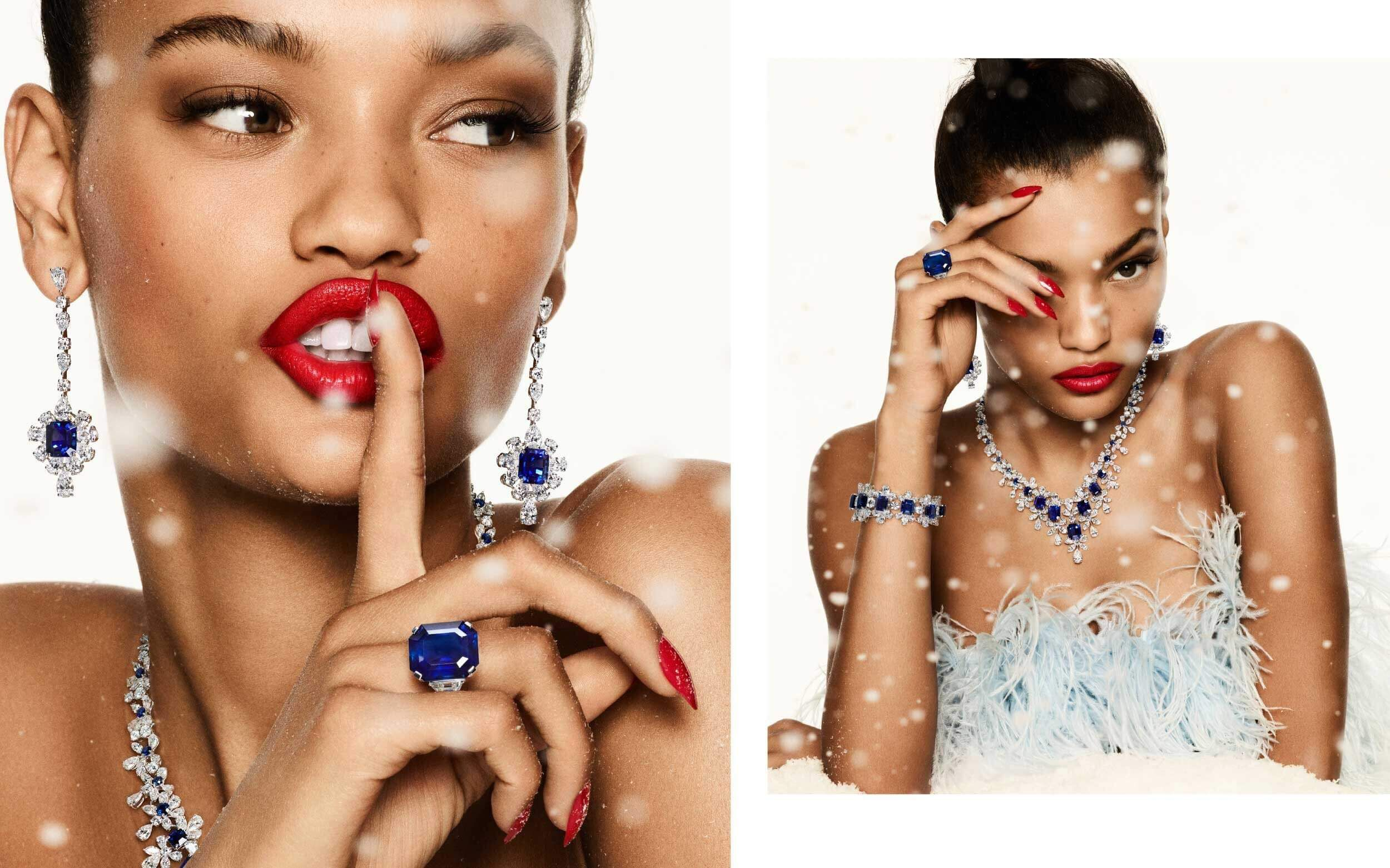 a lady wearing different Graff sapphire high jewellery sets in two images