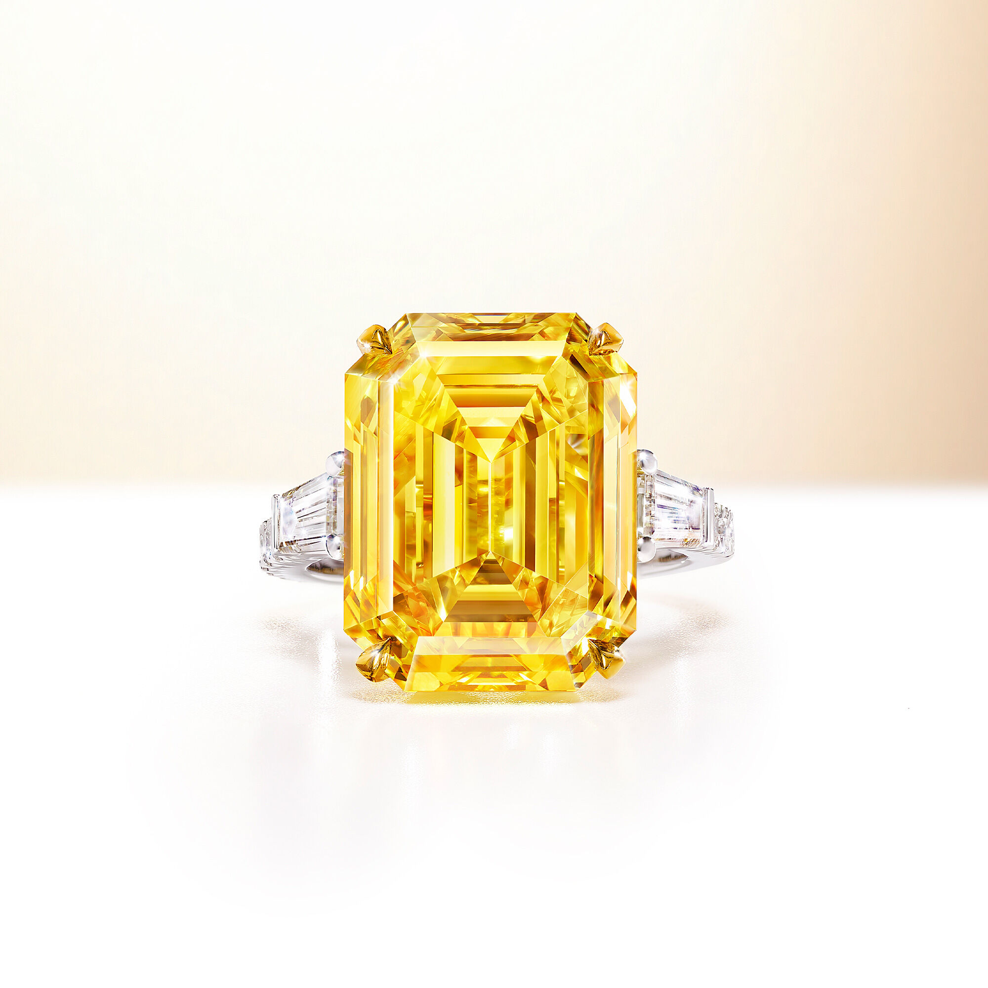 A 15.47 fancy vivid yellow emerald cut Graff diamond ring