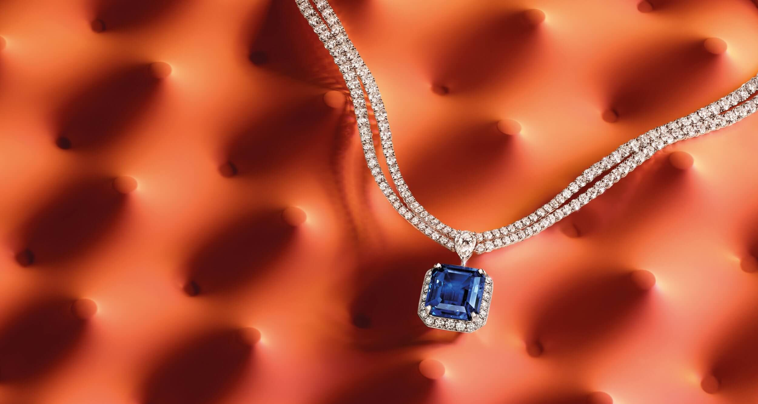 A 17 carat emerald cut sapphire and diamond necklace by Graff