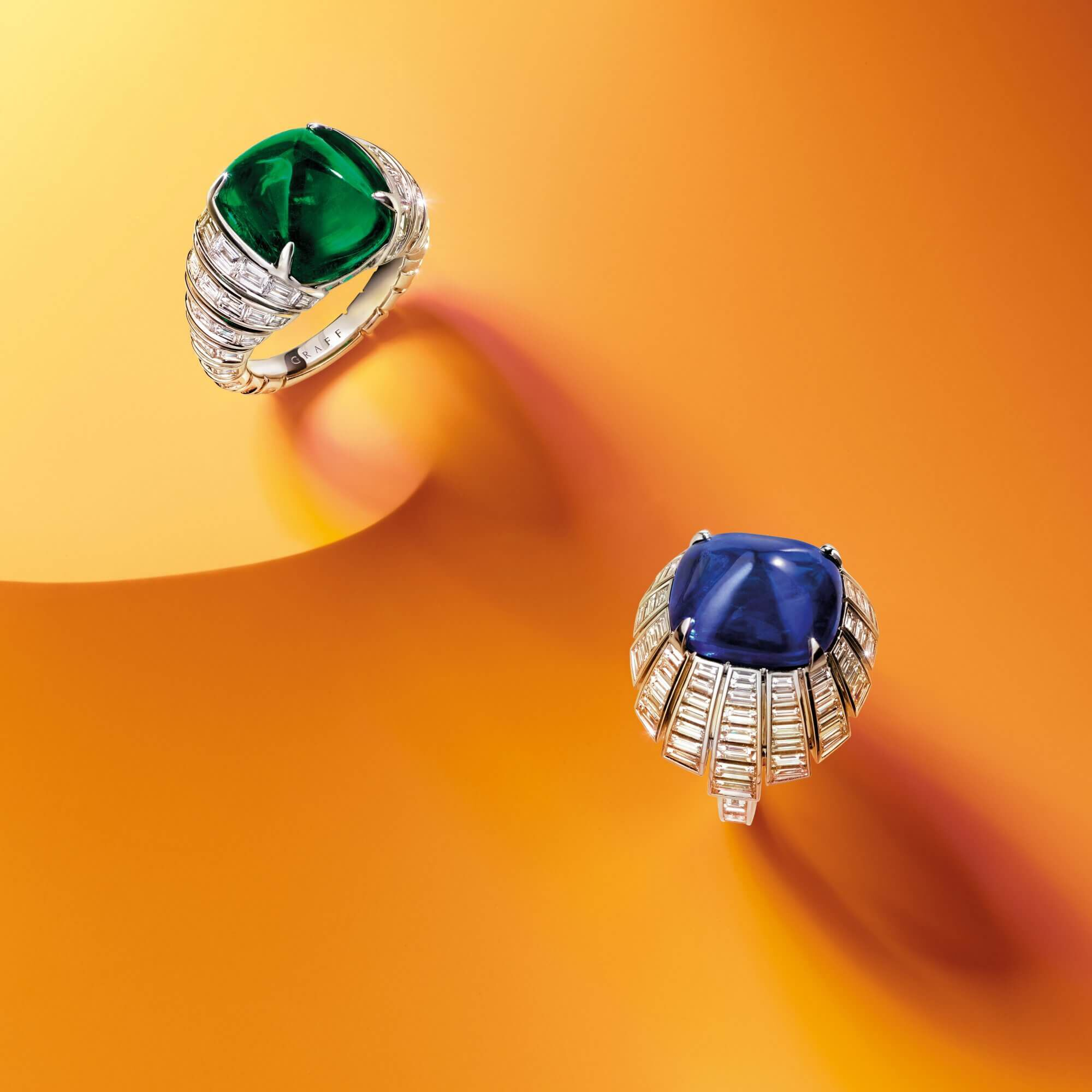 A Graff Emerald and Diamond Ring and Sapphire and Diamond Ring