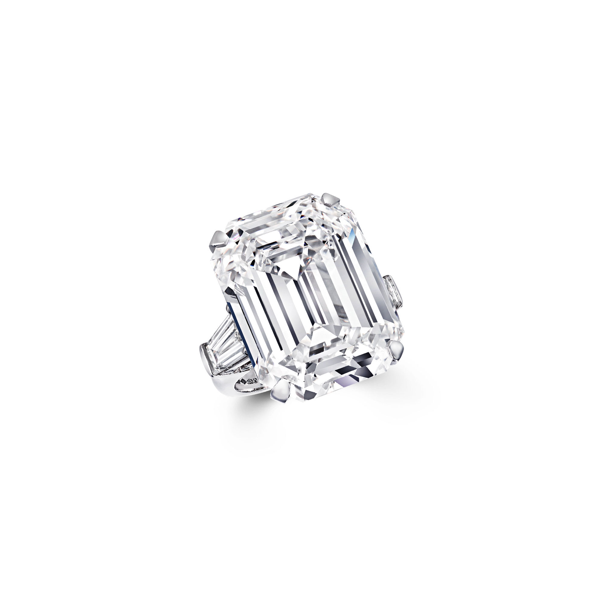 An emerald cut white diamond ring by Graff