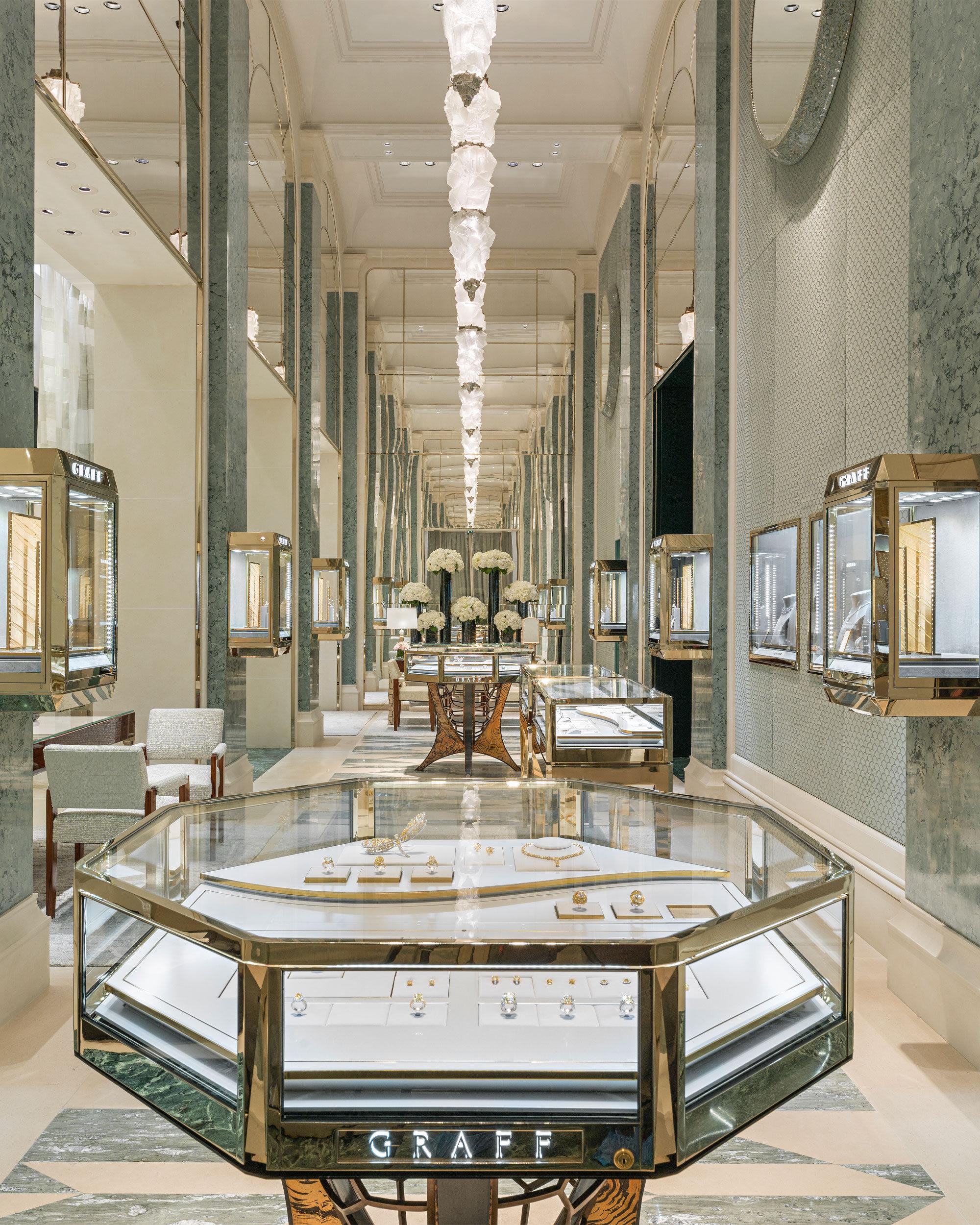 Interior of the Graff flagship boutique in Paris