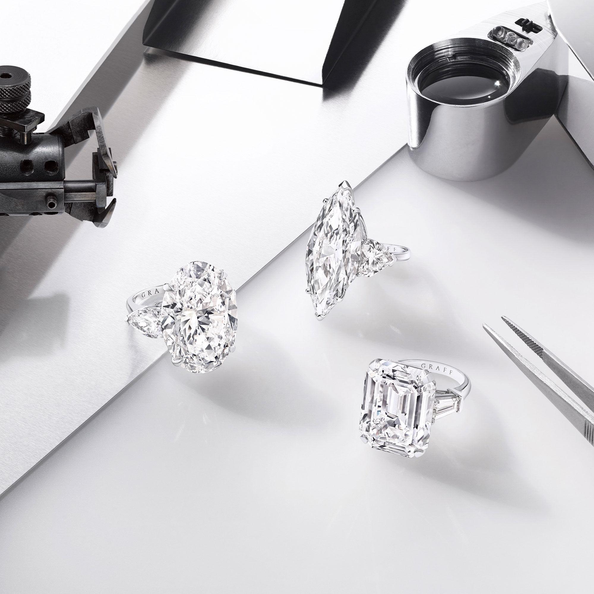 Three high jewellery diamond ring by Graff with diamond setting tools
