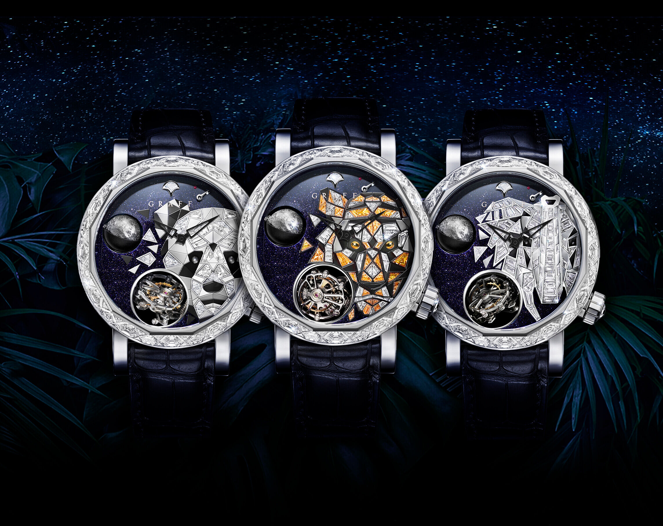A Graff GyroGraff Endangered Species 48mm men's Watch with Panda, tigar and elephant Dial