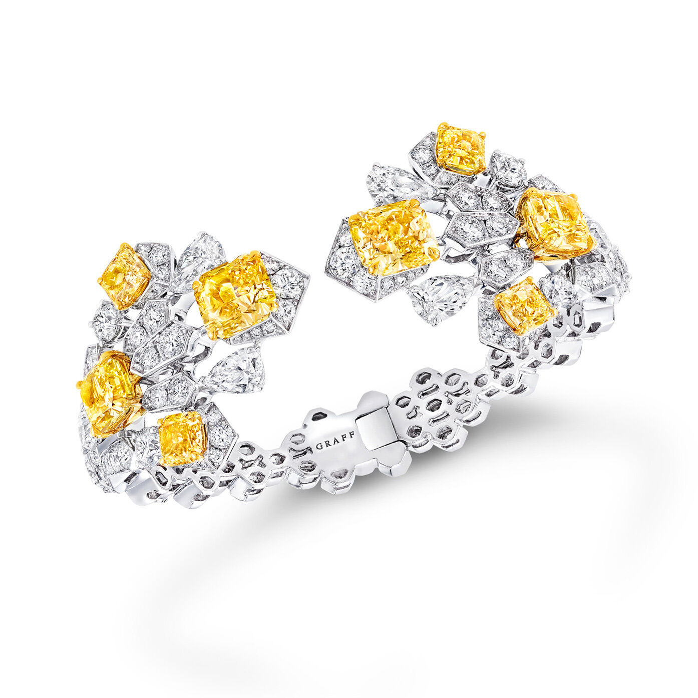 Yellow and white diamond high jewellery Night Moon earrings from the Graff Tribal collection