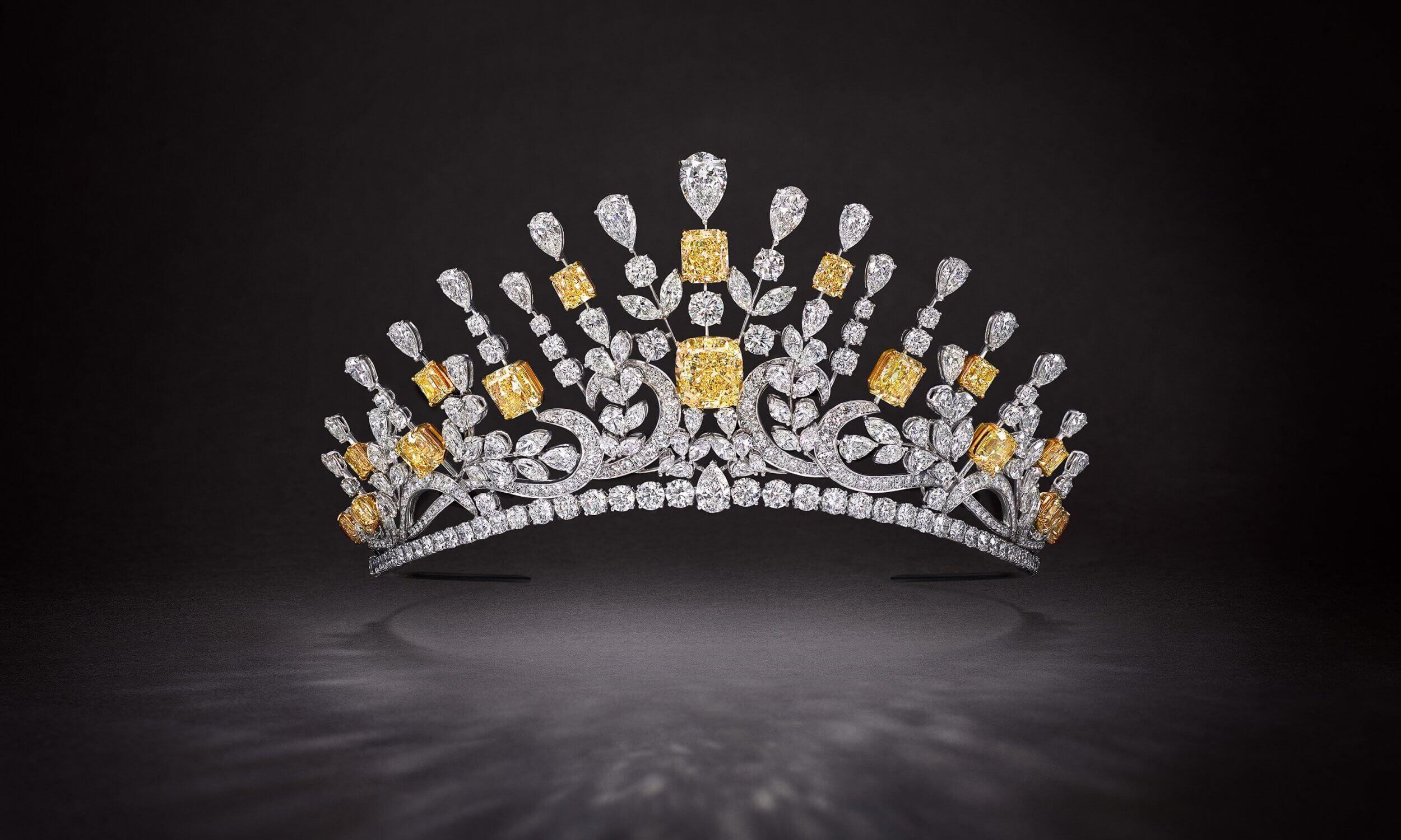 Graff 177.6 ct yellow and white diamond tiara
