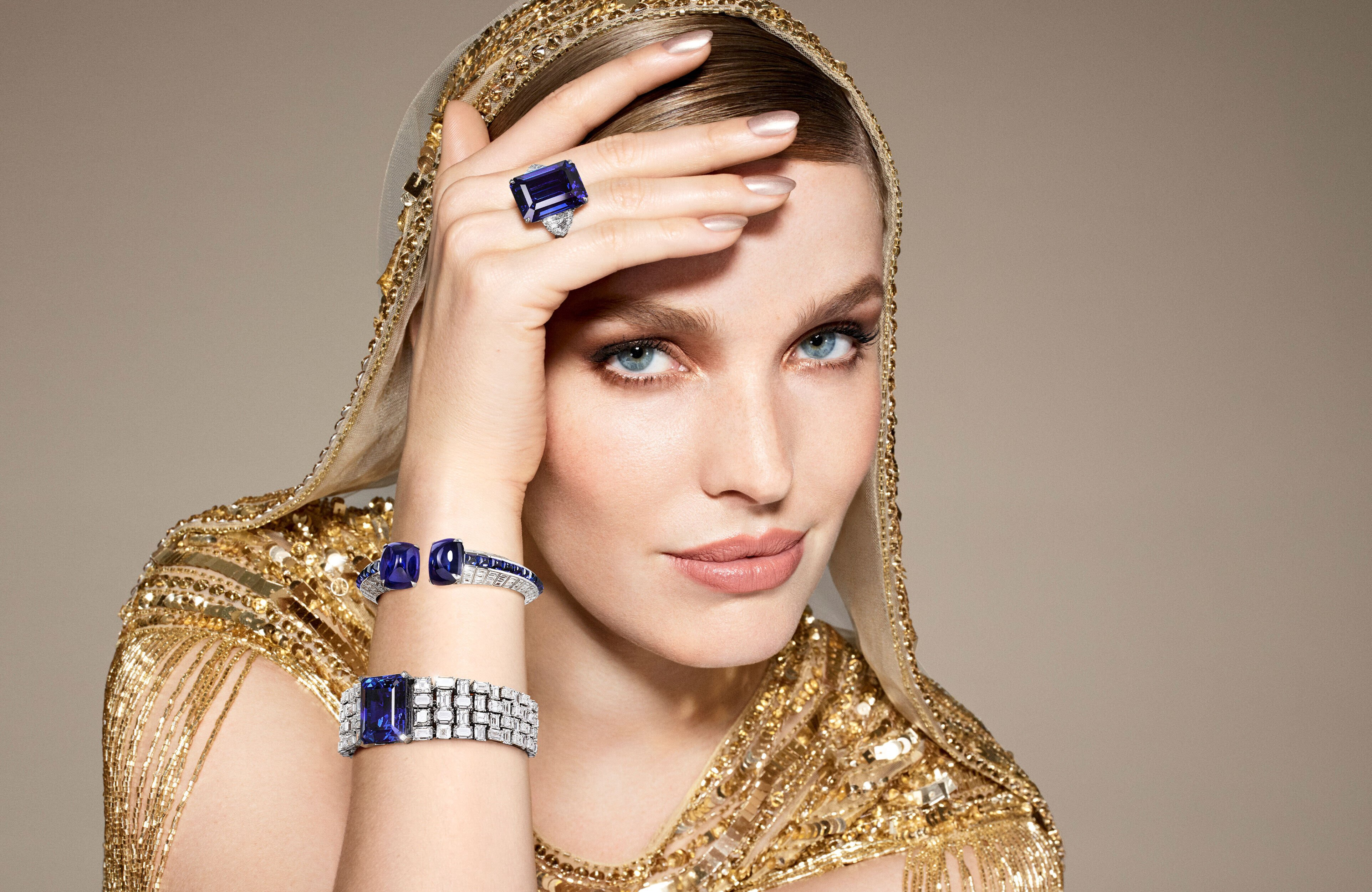 Model wears Graff sapphire and white diamond high jewellery