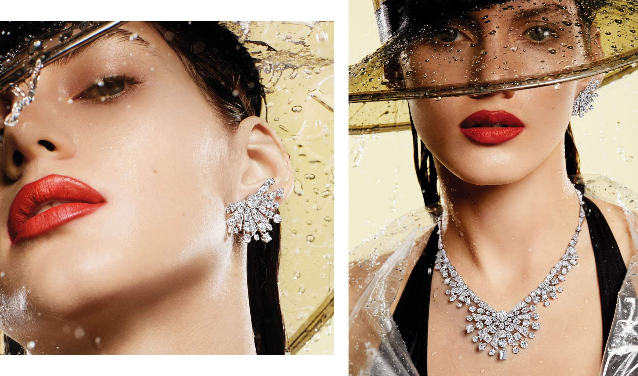 Images of a model wearing Graff Solar Collection Diamond Earrings and Necklace