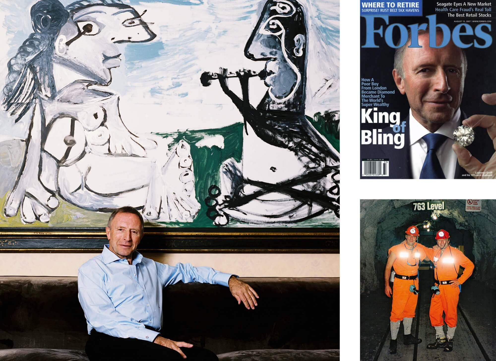 images of Mr Laurence Graff OBE sitting on a sofa, on the Forbes cover and in a mine with his son Mr Francois Graff