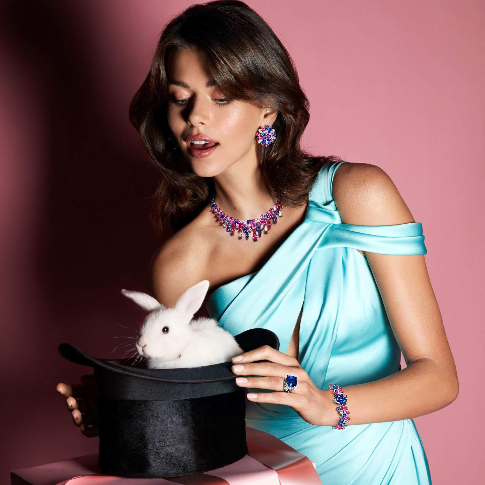 Graff Diamonds La Grande Soiree Pink and blue sapphire-and diamond necklace and earrings
