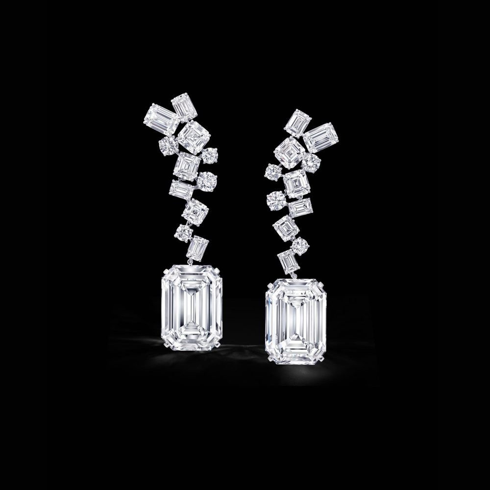 Earrings featuring The Eternal Twins, a pair of identical 50 carat D Flawless emerald cut diamonds