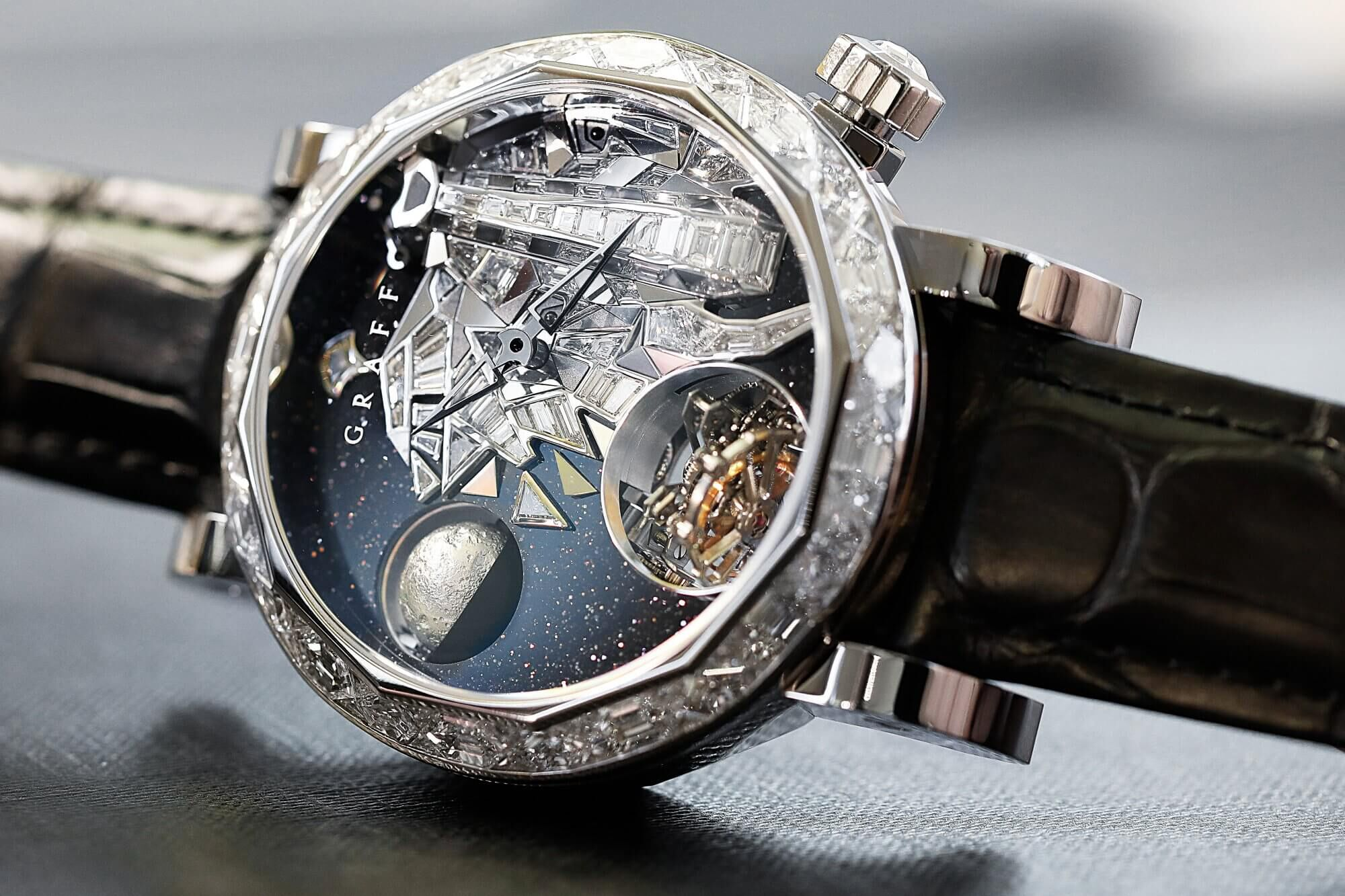 Close up of a unfinished Graff GyroGraff Endangered Species 48mm men's Watch with the elephant Dial