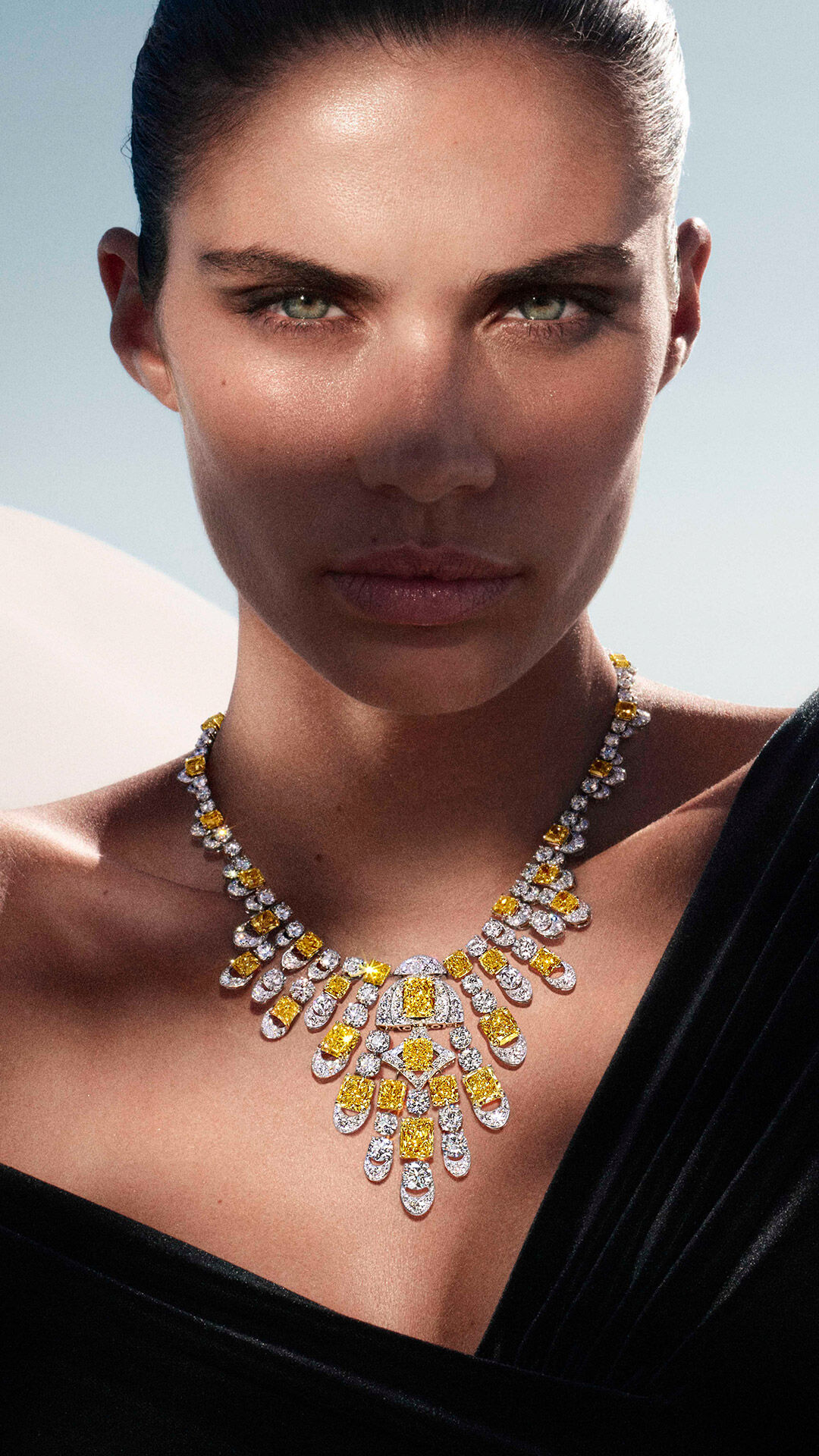 Yellow and white diamond high jewellery Night Moon necklace from the Graff Tribal collection