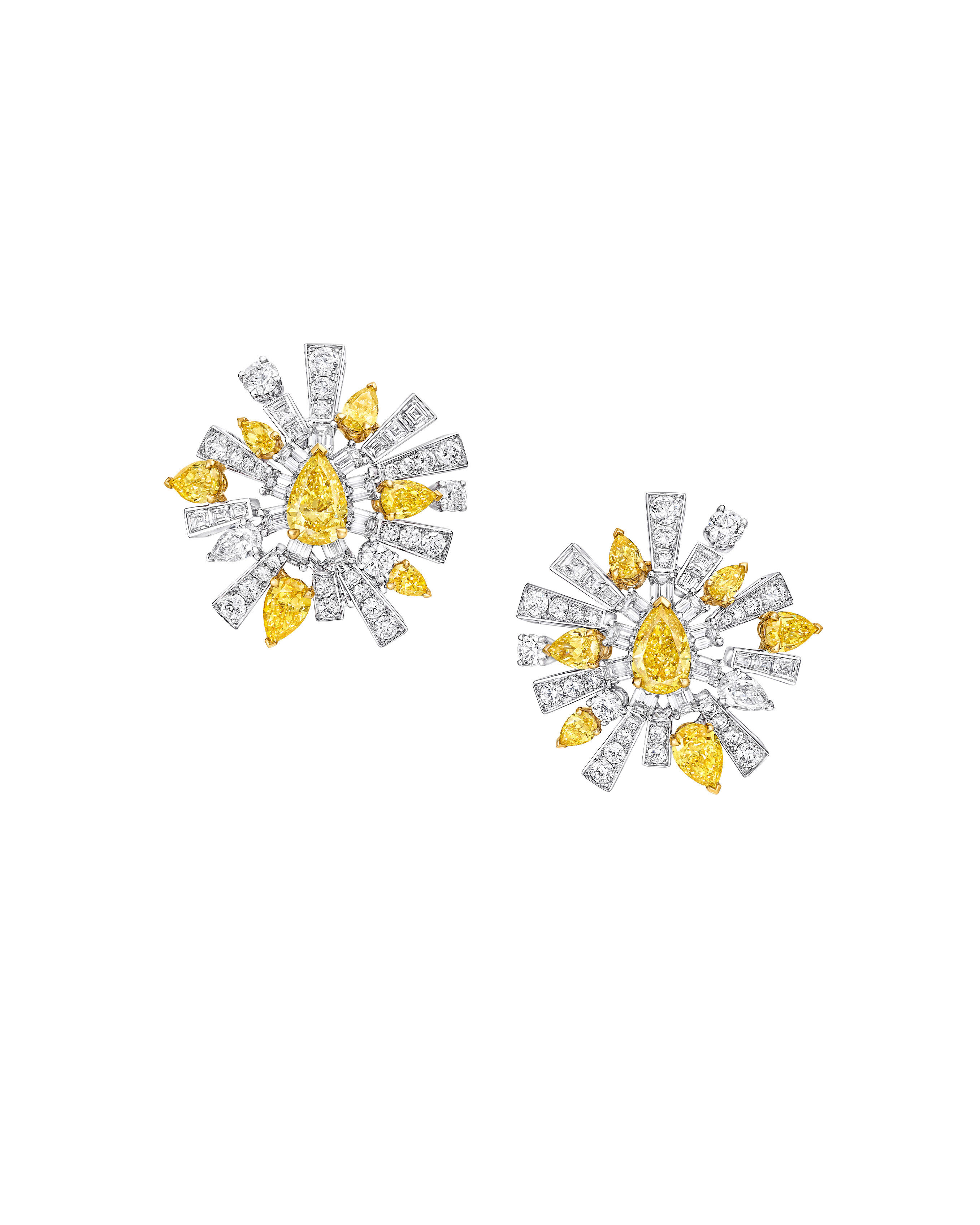 a New Daw yellow and white diamond high jewellery stud earrings form the Graff Tribal collection