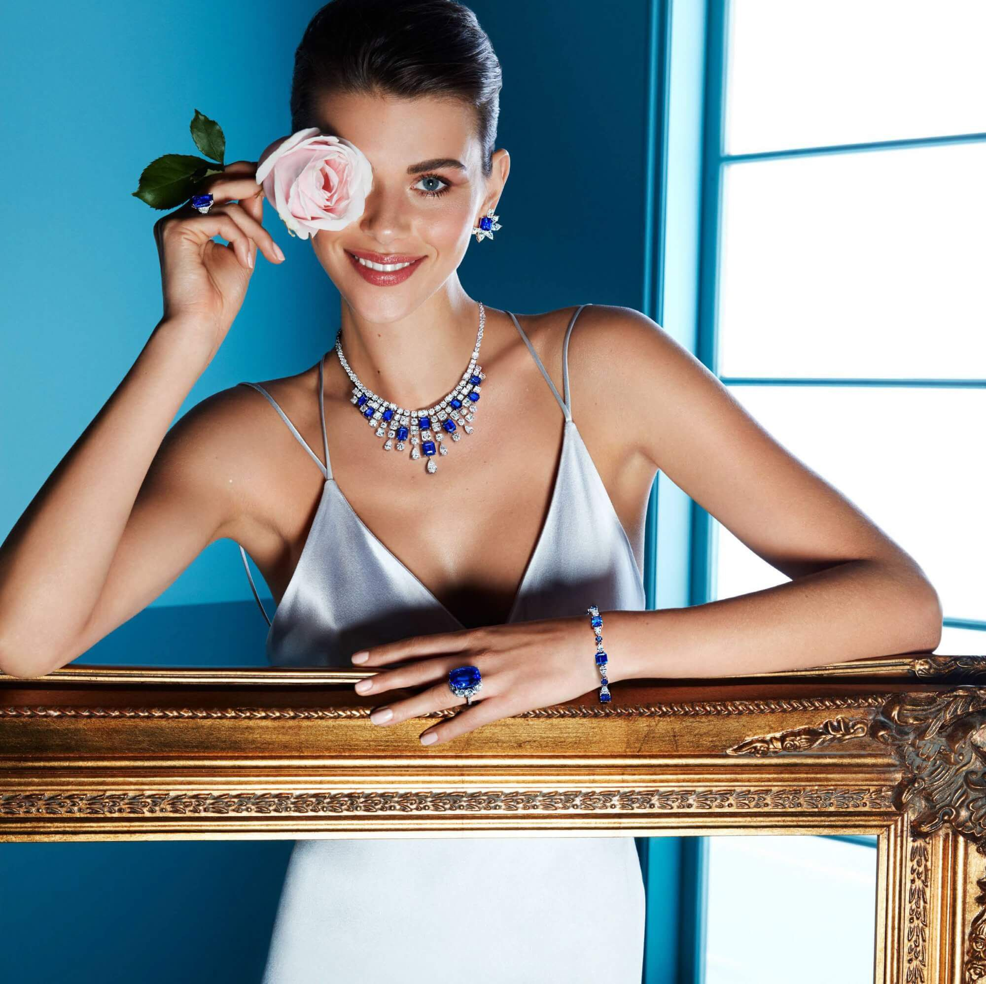 Graff Diamonds La Grande Soiree Sapphire and diamond Abstract earrings necklace and bracelet