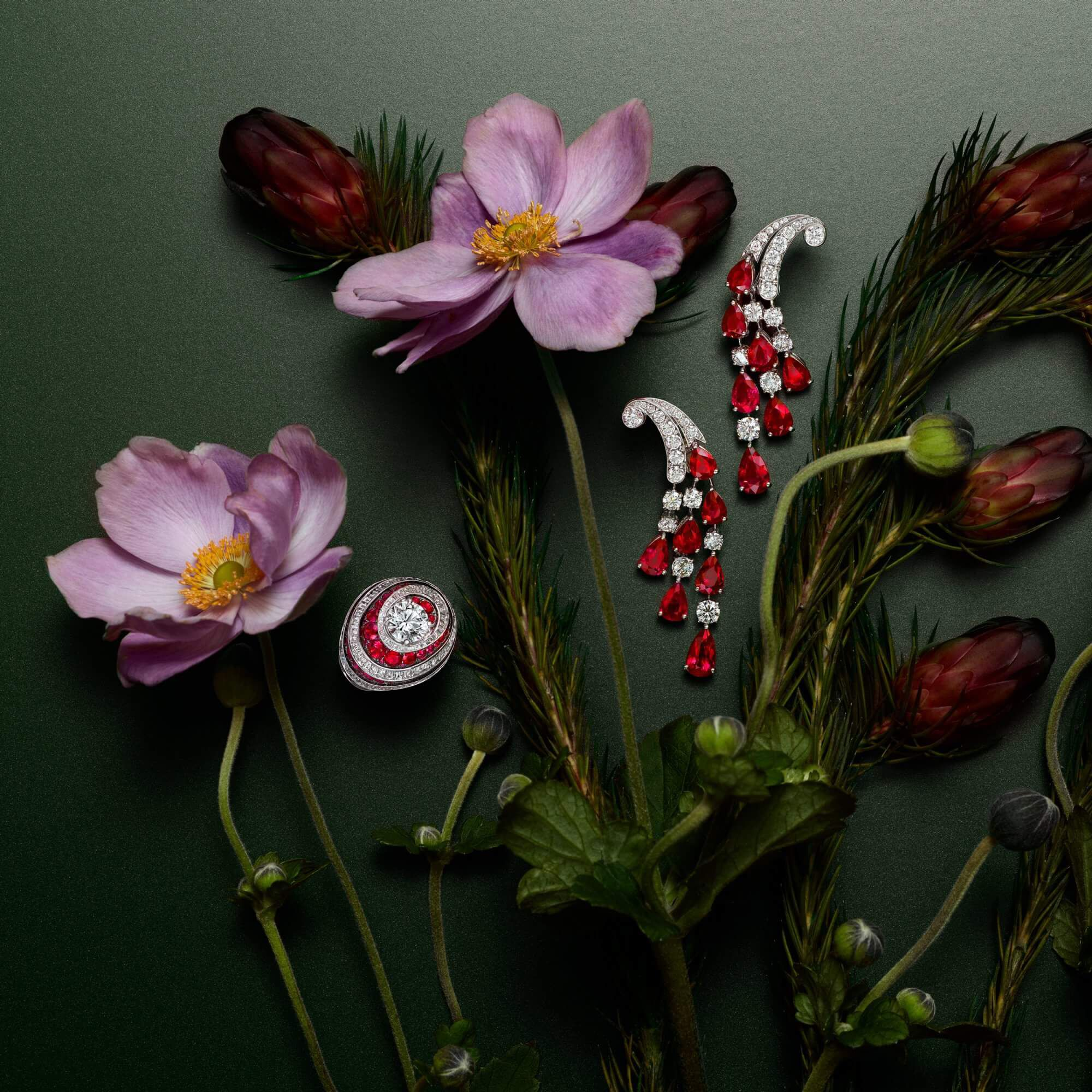 Graff ruby and diamond jewellery with flowers decorations