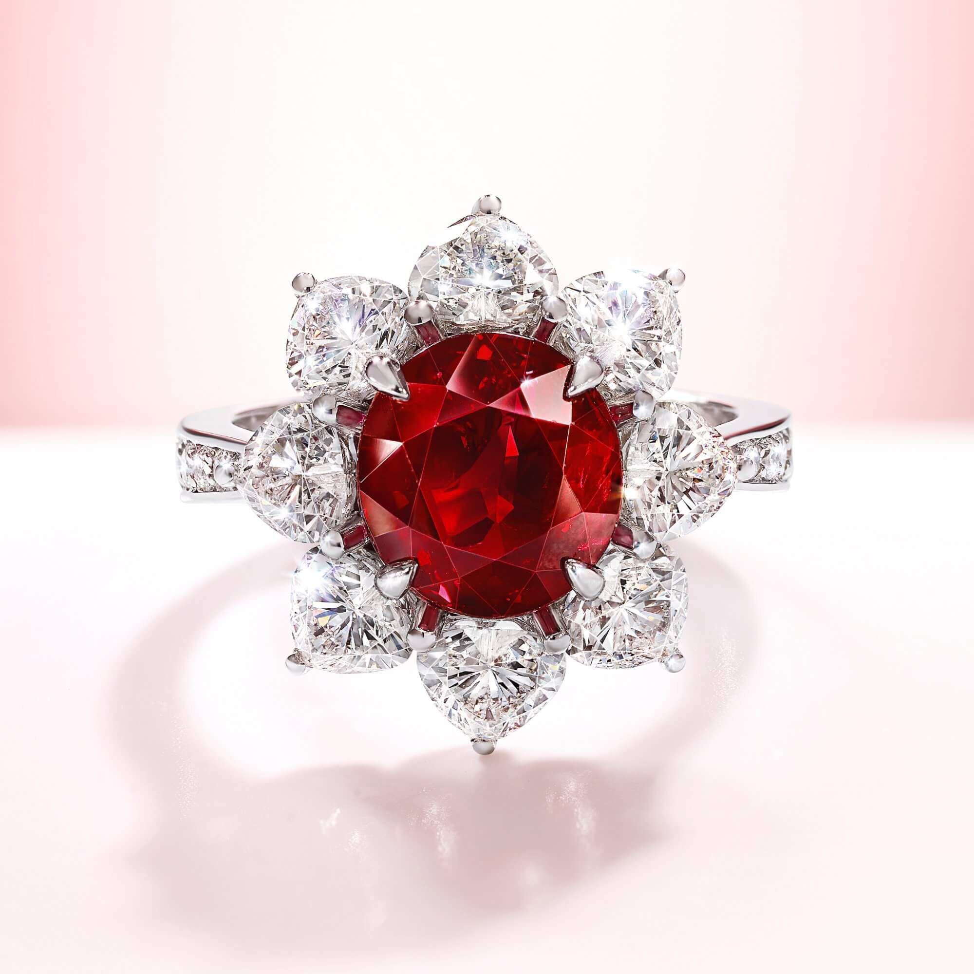 4 ct Oval Burmese Graff Ruby and diamond ring