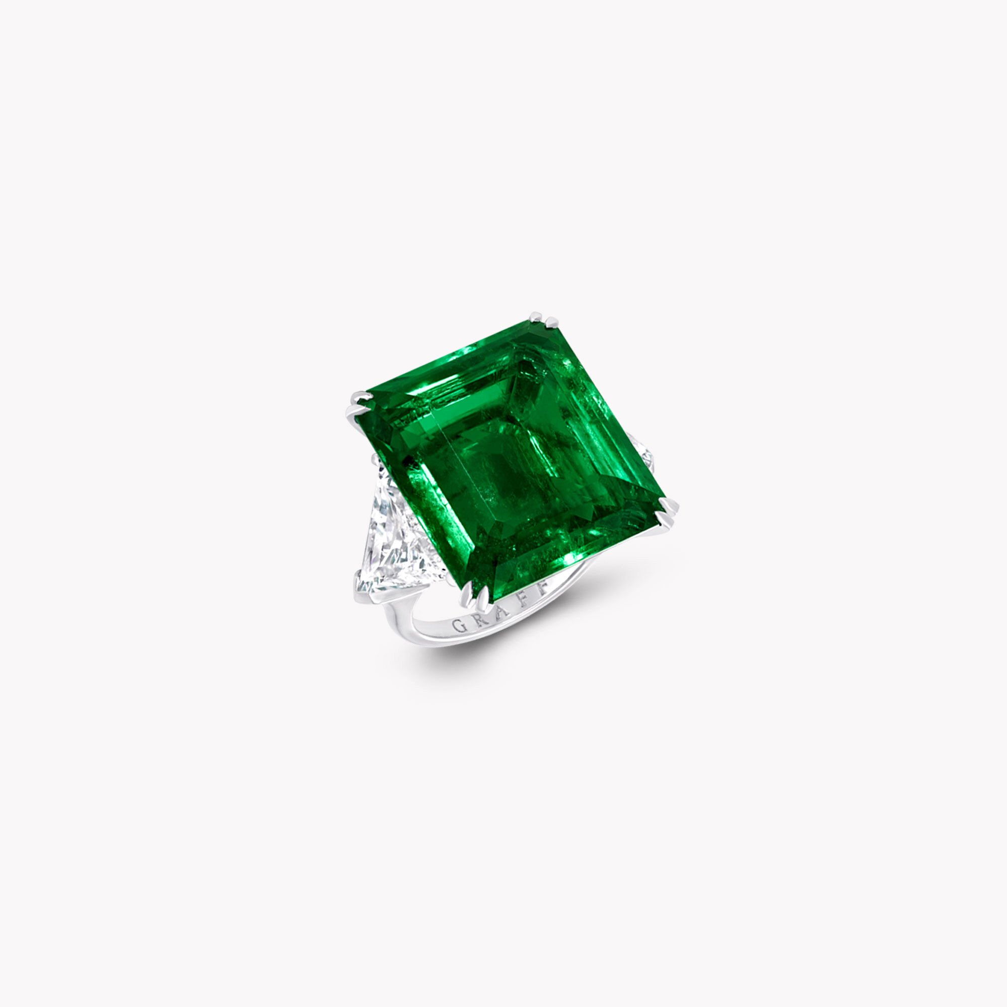 A Graff emerald cut emerald and white diamond high jewellery ring