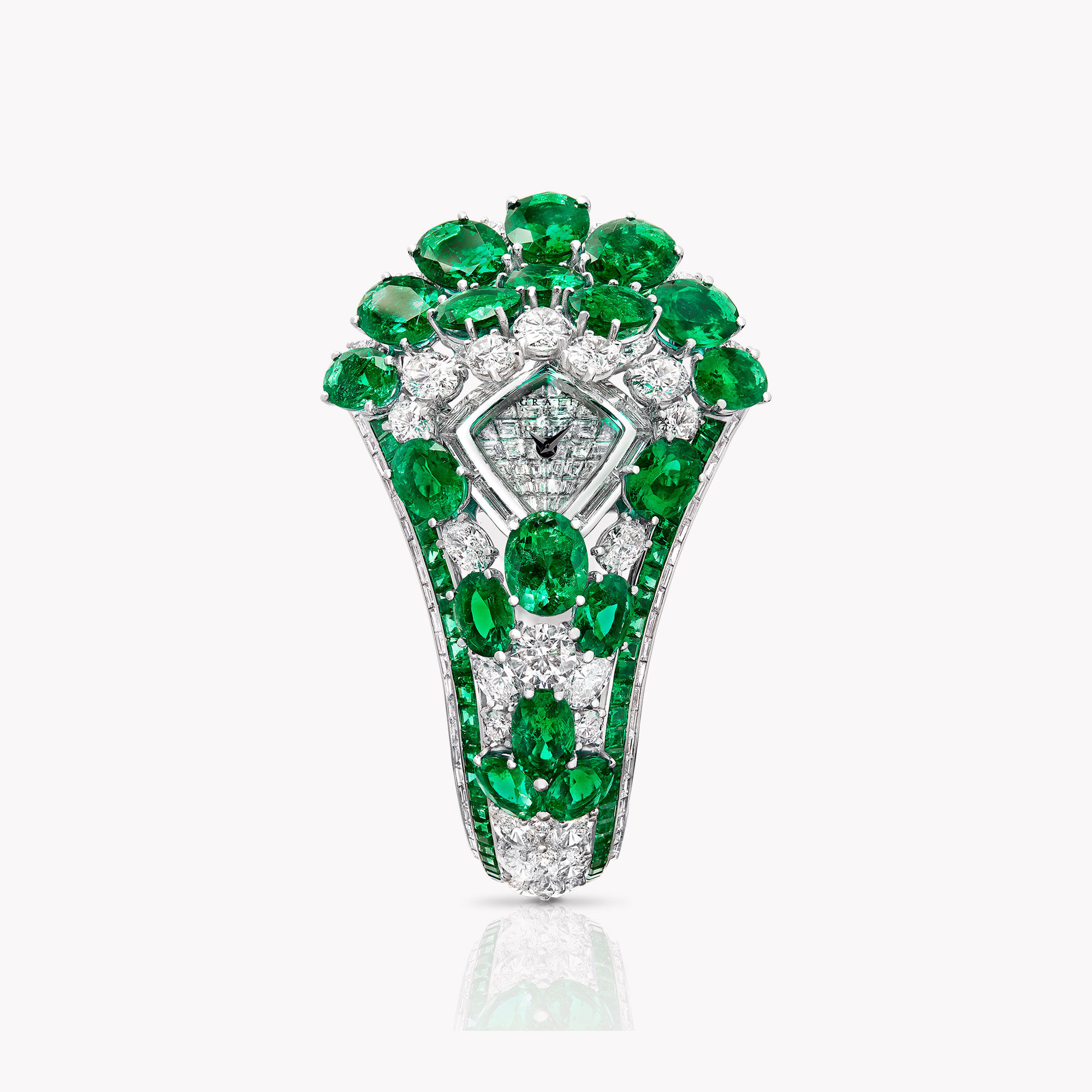 Oval Emerald and Diamond Secret Watch from the Graff unique timepieces collection