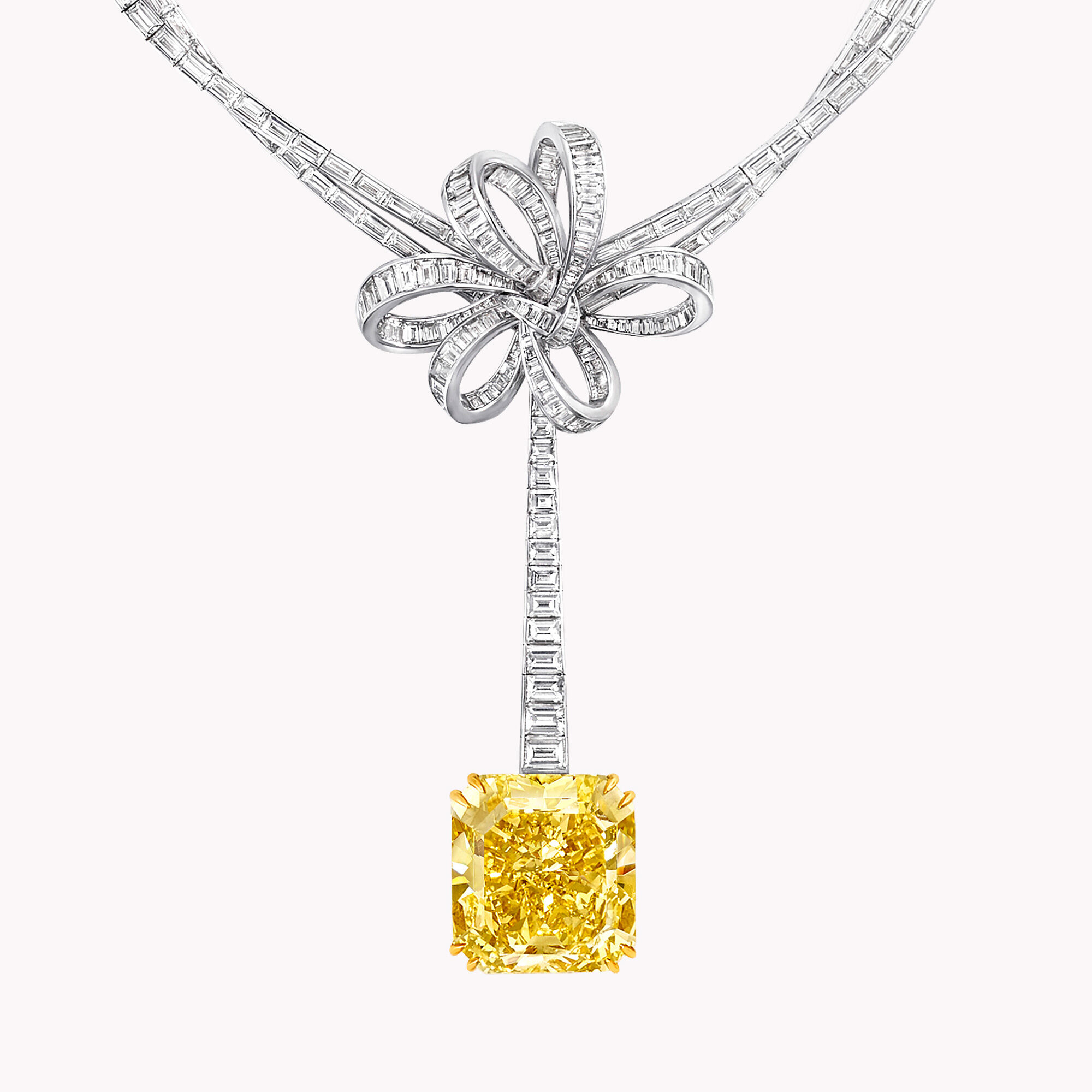 A Graff Inspired by Twombly collection yellow and white diamond high jewellery necklace